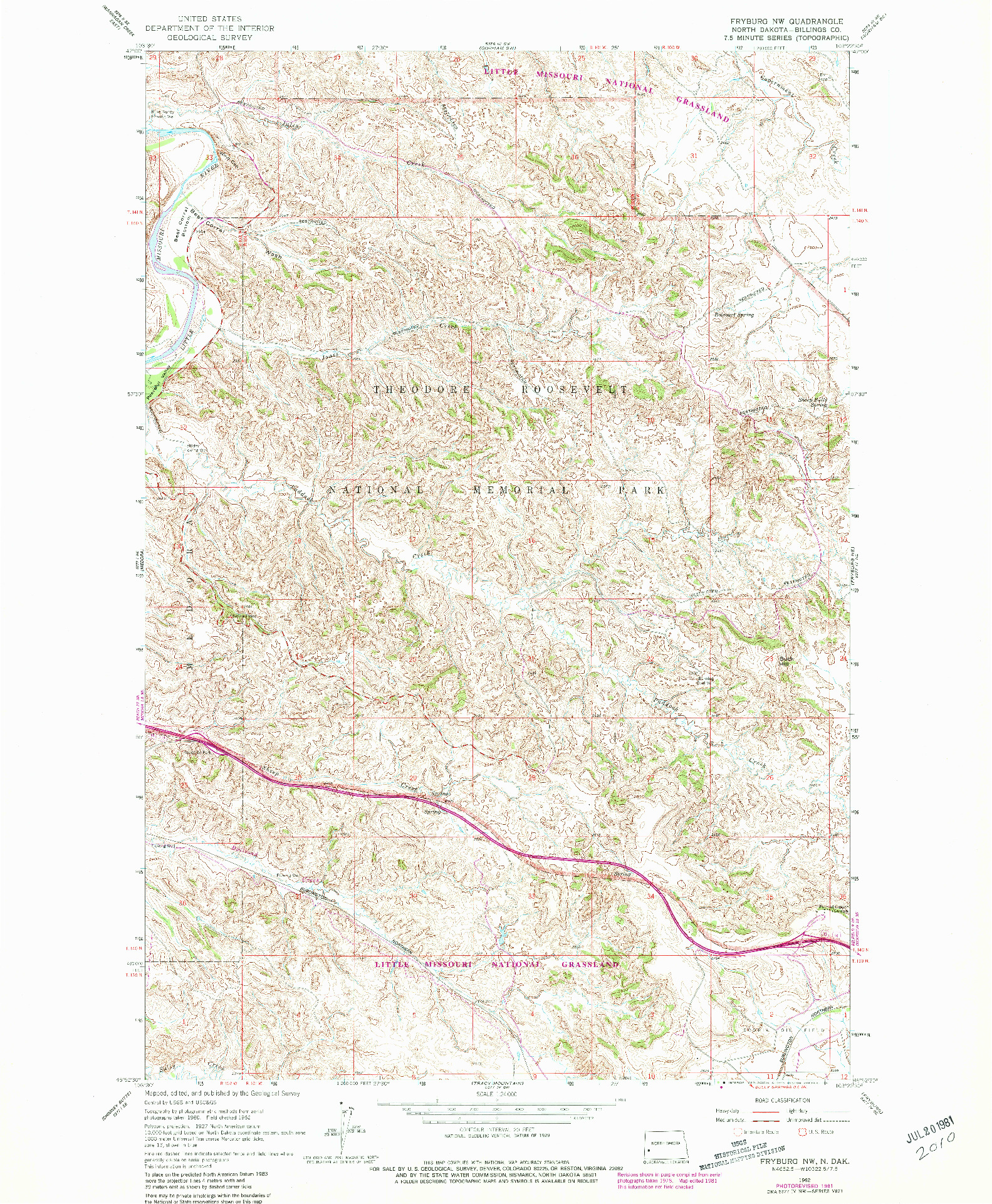 USGS 1:24000-SCALE QUADRANGLE FOR FRYBURG NW, ND 1962