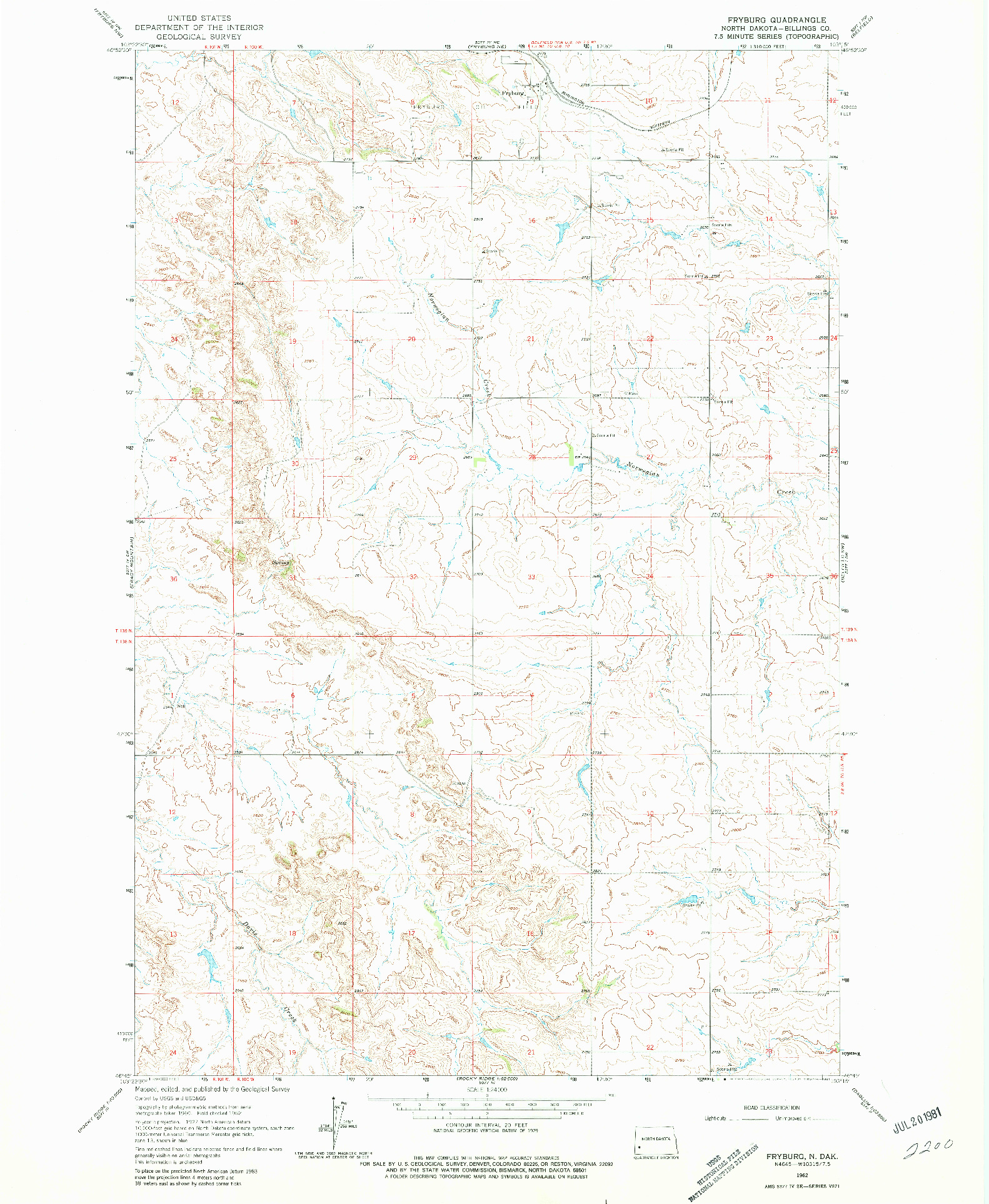 USGS 1:24000-SCALE QUADRANGLE FOR FRYBURG, ND 1962