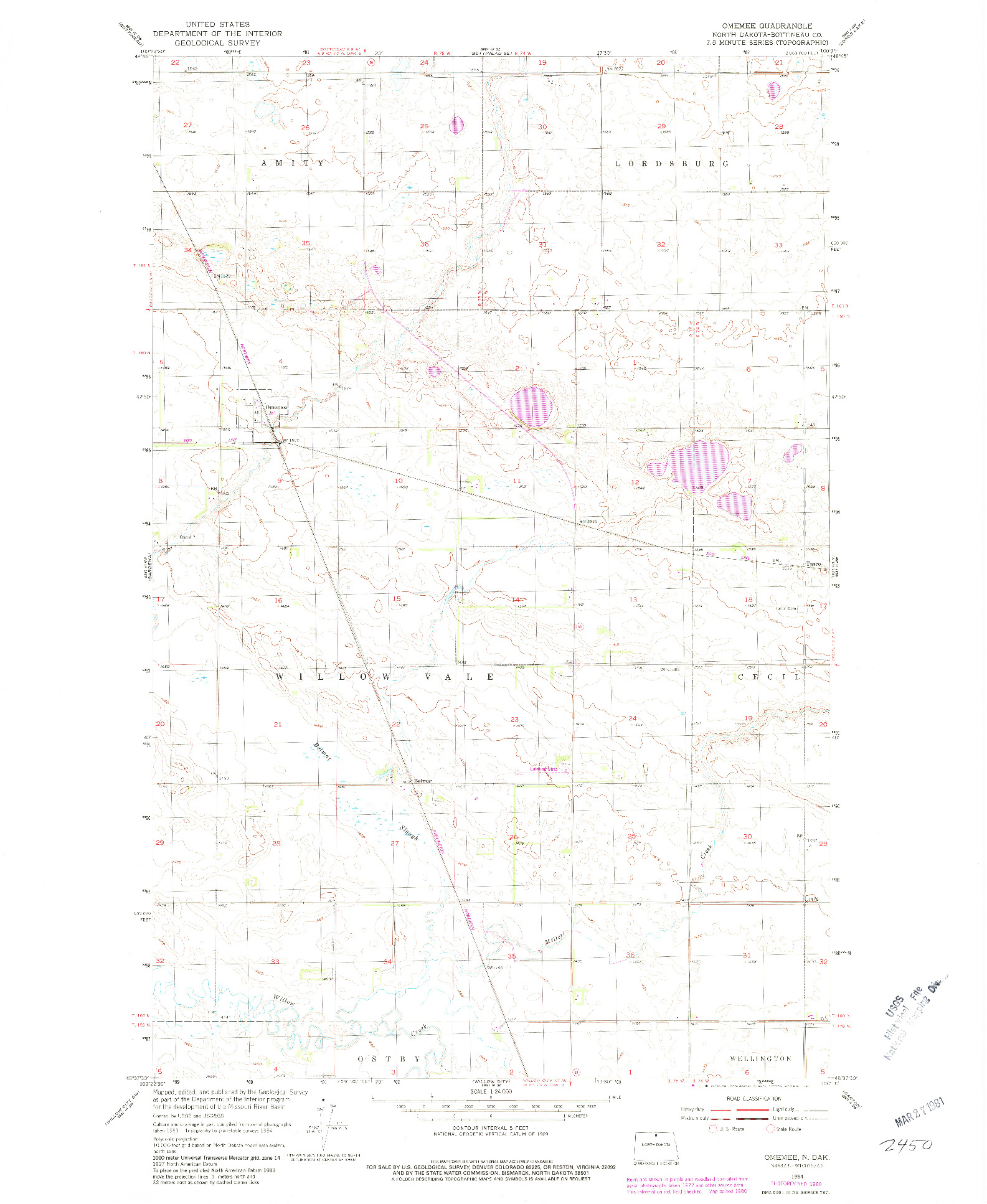 USGS 1:24000-SCALE QUADRANGLE FOR OMEMEE, ND 1954