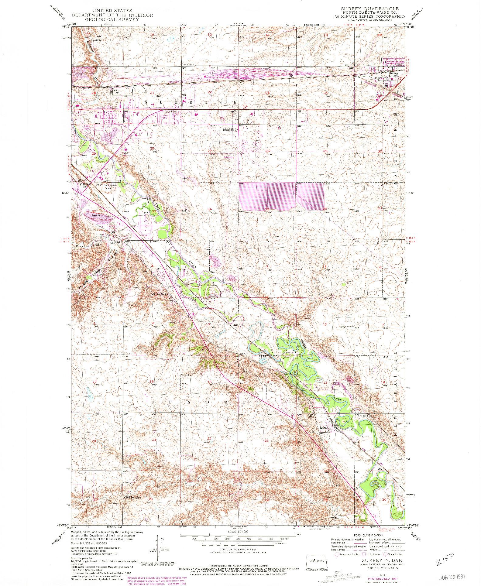 USGS 1:24000-SCALE QUADRANGLE FOR SURREY, ND 1948