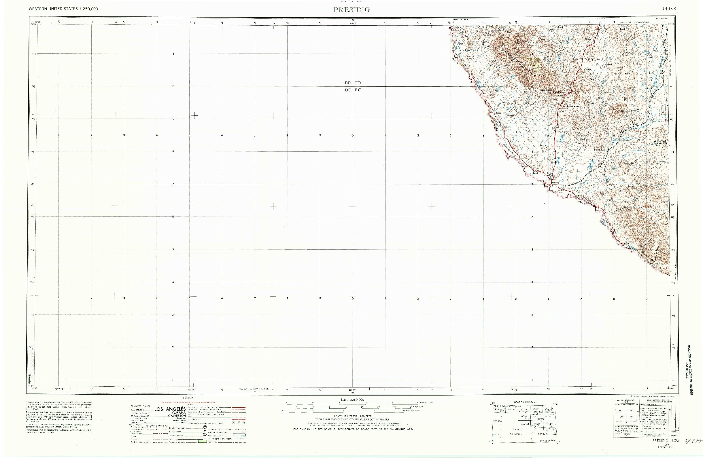 USGS 1:250000-SCALE QUADRANGLE FOR PRESIDIO, TX 1959