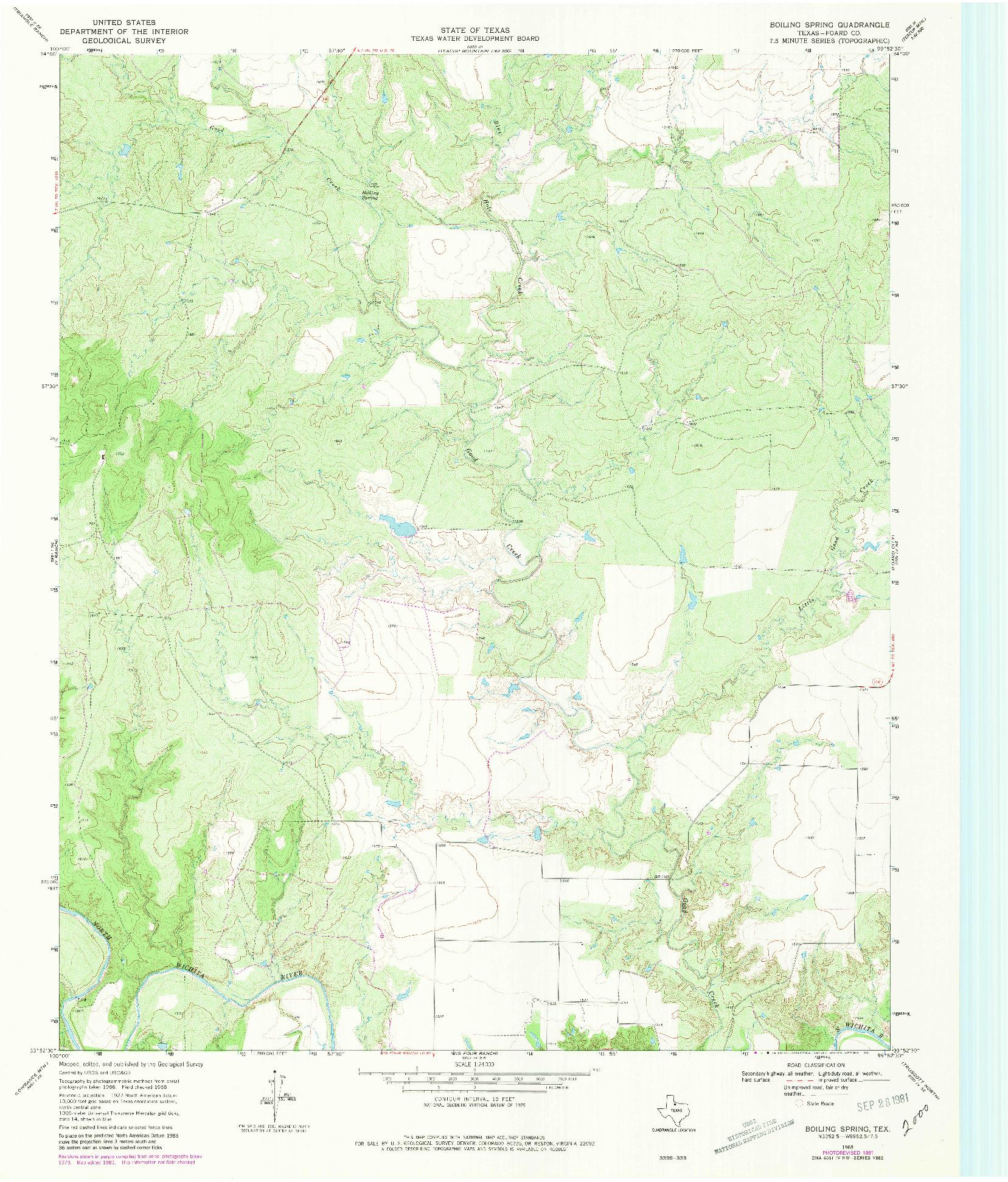 USGS 1:24000-SCALE QUADRANGLE FOR BOILING SPRING, TX 1968