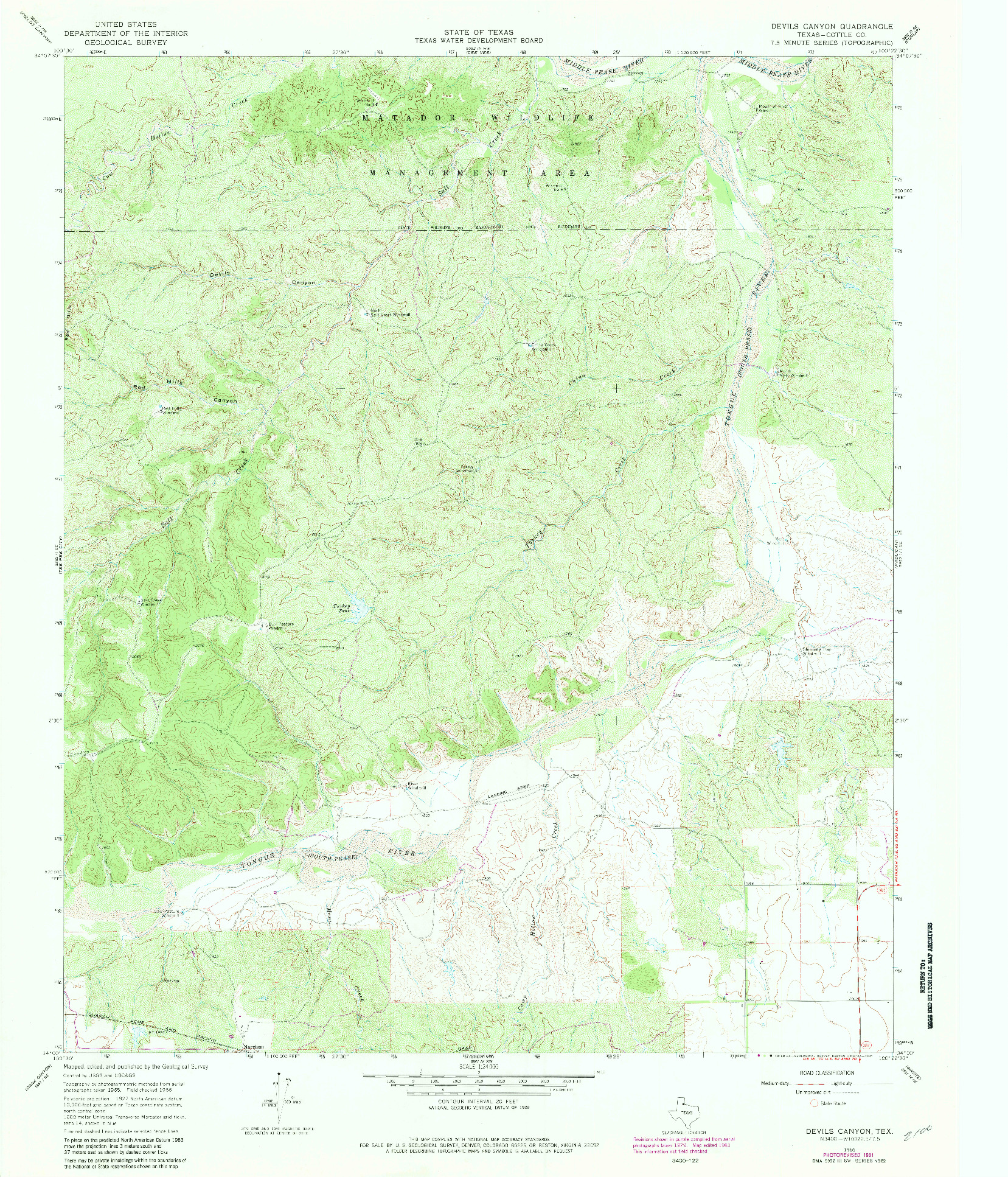 USGS 1:24000-SCALE QUADRANGLE FOR DEVILS CANYON, TX 1966