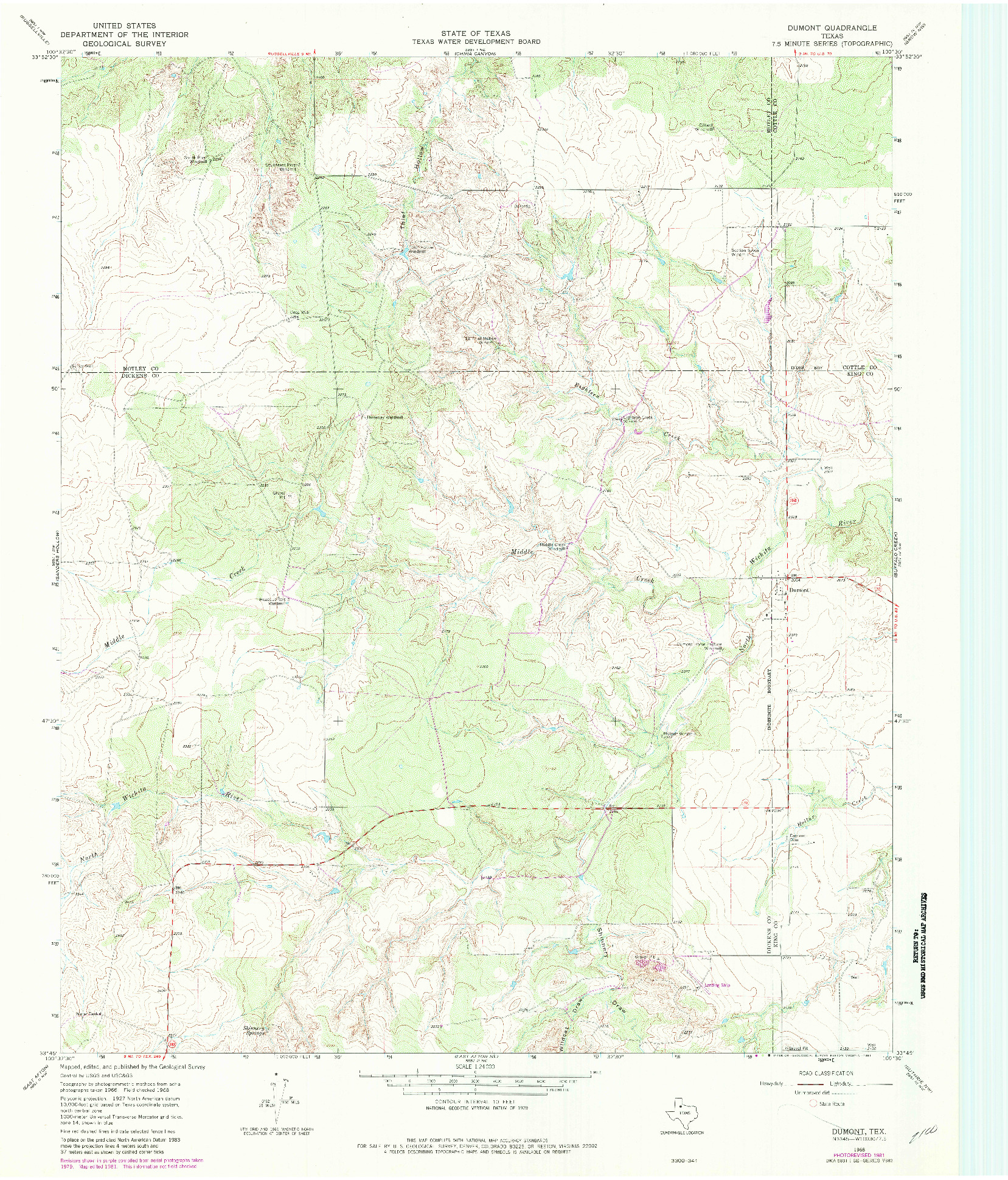 USGS 1:24000-SCALE QUADRANGLE FOR DUMONT, TX 1968