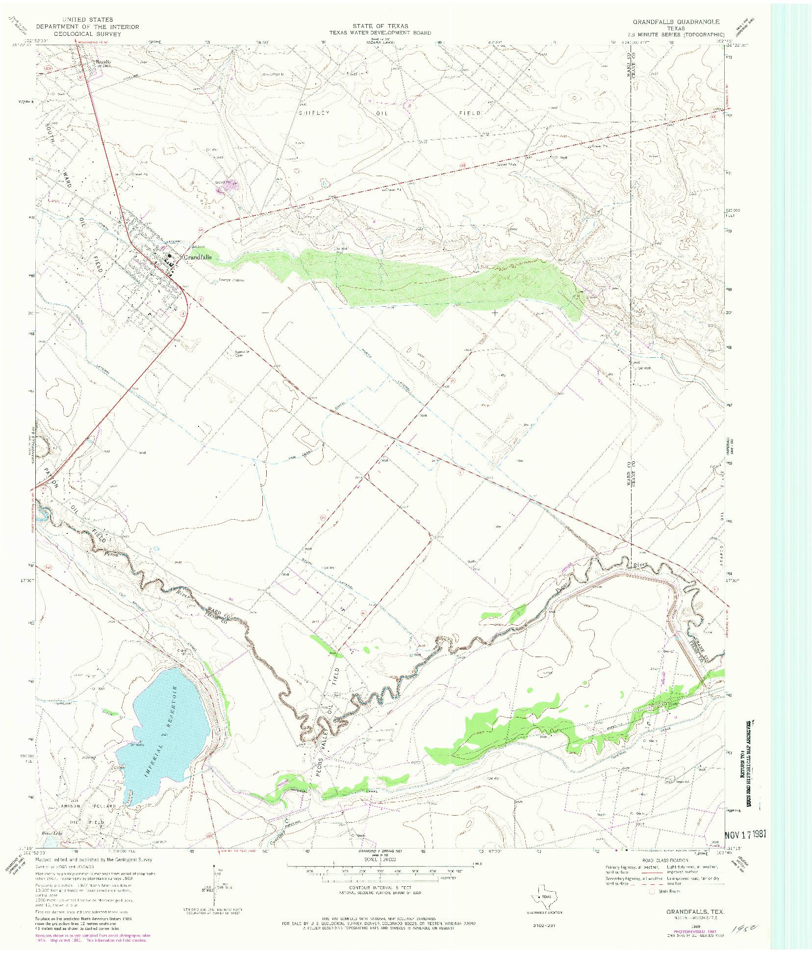 USGS 1:24000-SCALE QUADRANGLE FOR GRANDFALLS, TX 1969