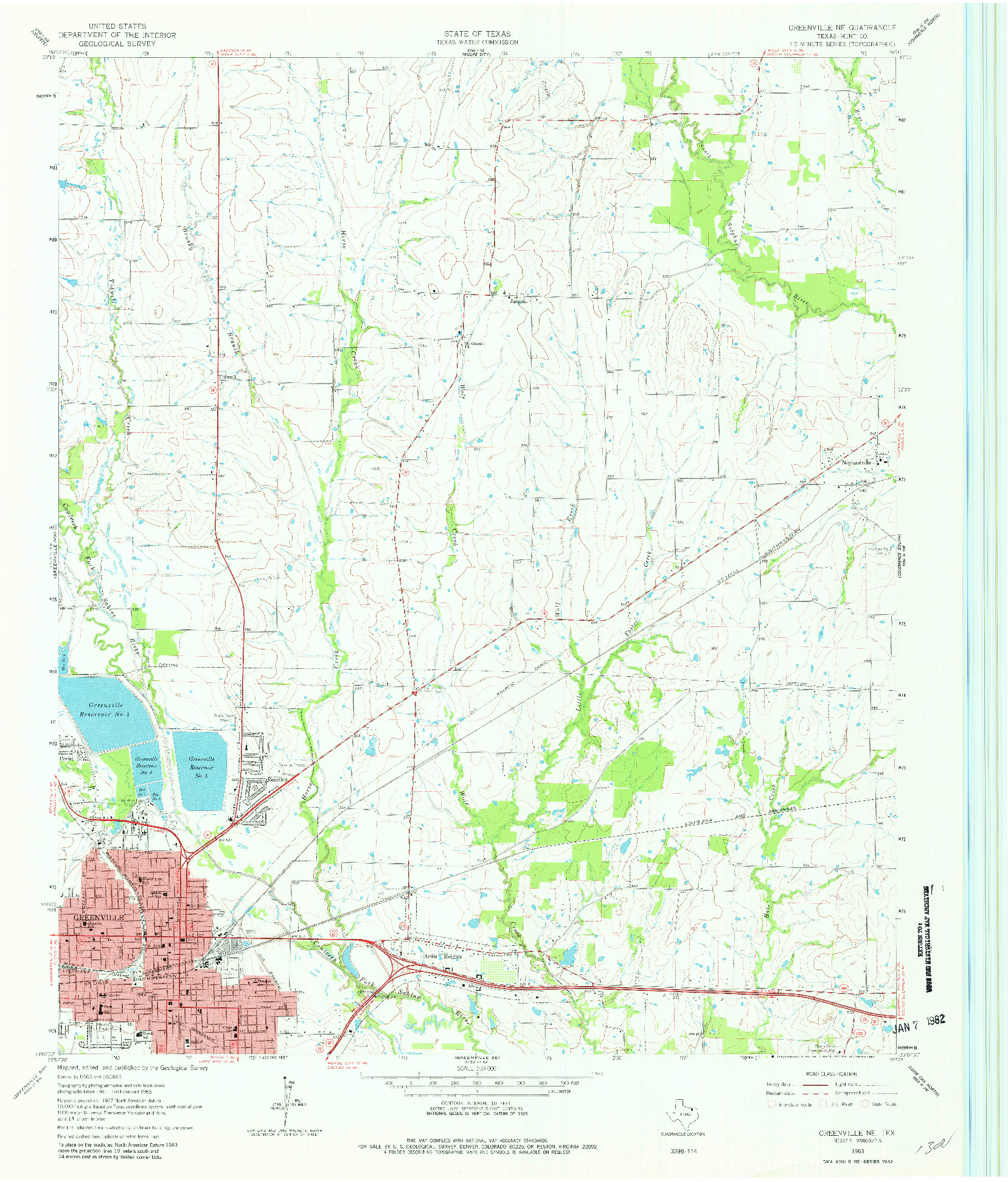USGS 1:24000-SCALE QUADRANGLE FOR GREENVILLE NE, TX 1963