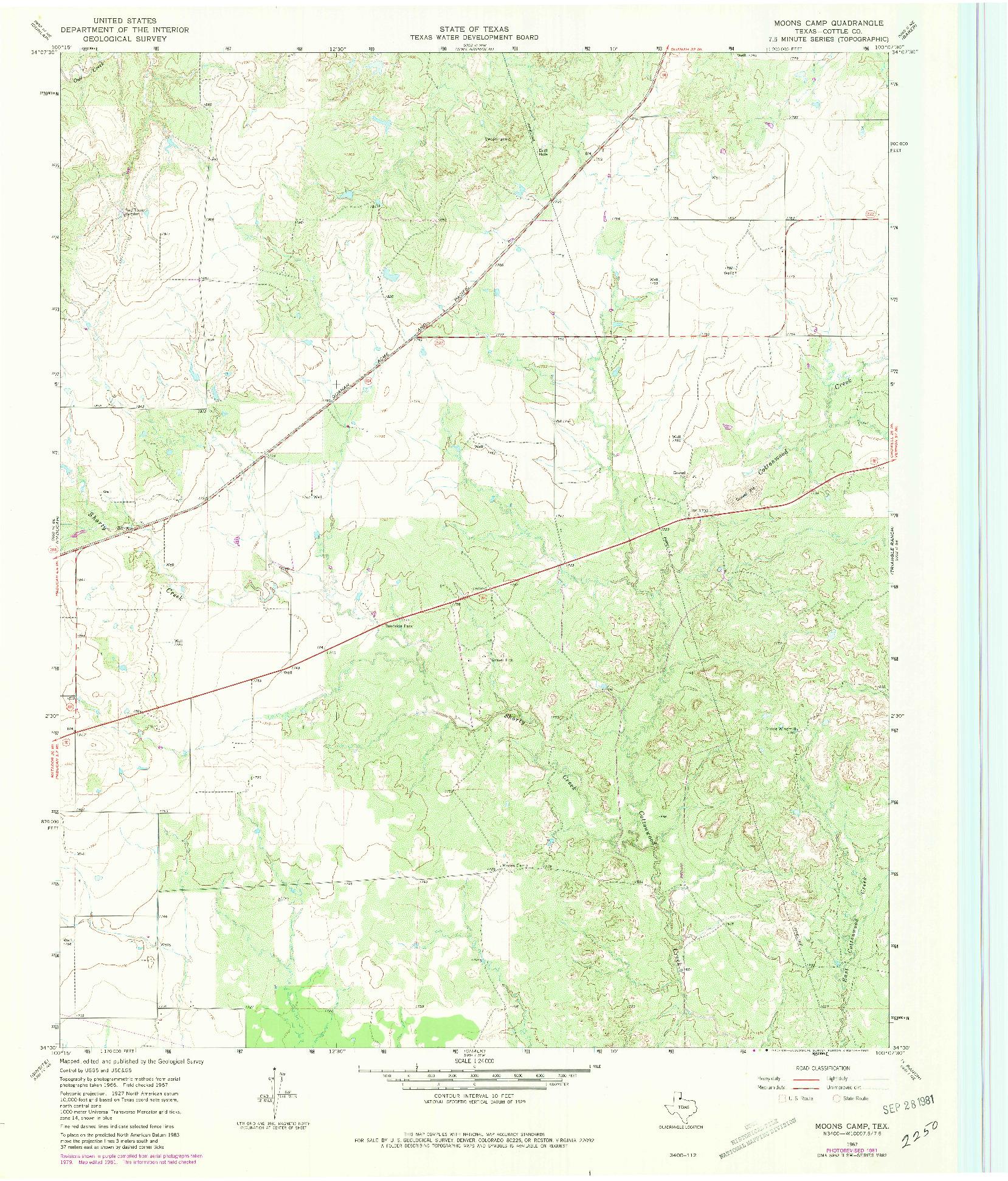 USGS 1:24000-SCALE QUADRANGLE FOR MOONS CAMP, TX 1967