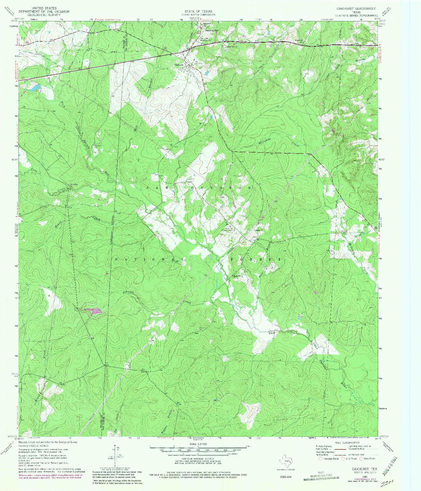 USGS 1:24000-SCALE QUADRANGLE FOR OAKHURST, TX 1961