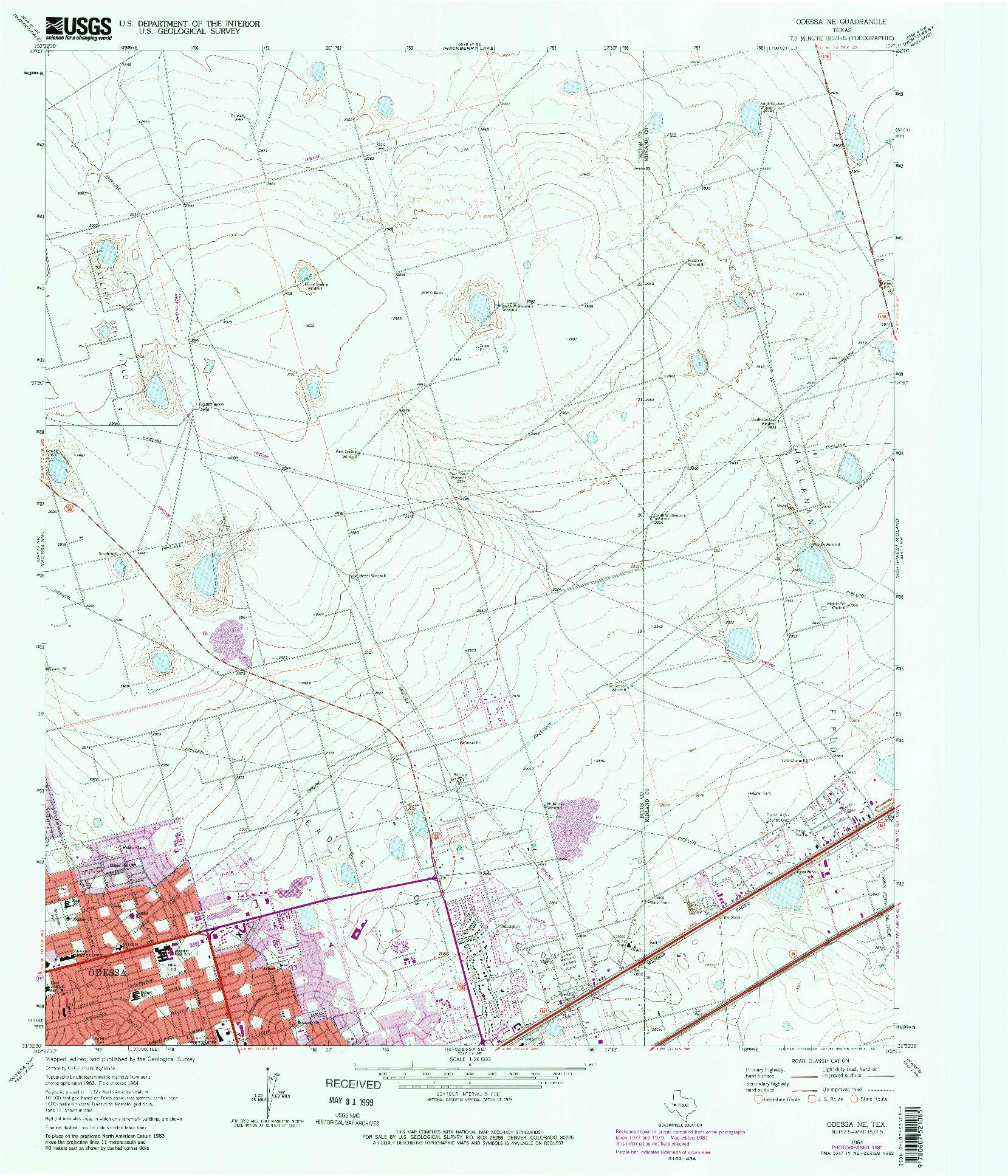 USGS 1:24000-SCALE QUADRANGLE FOR ODESSA NE, TX 1964