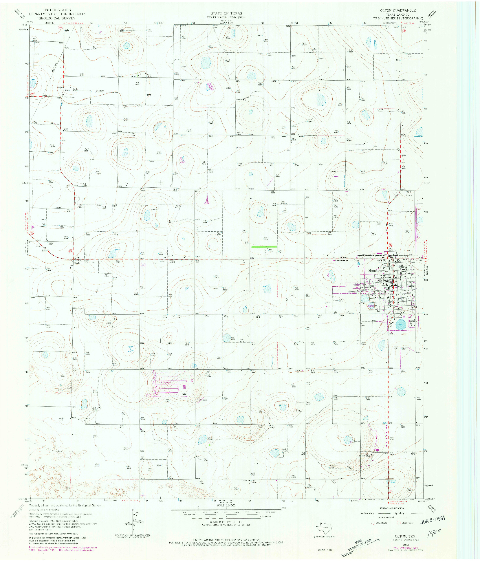 USGS 1:24000-SCALE QUADRANGLE FOR OLTON, TX 1963
