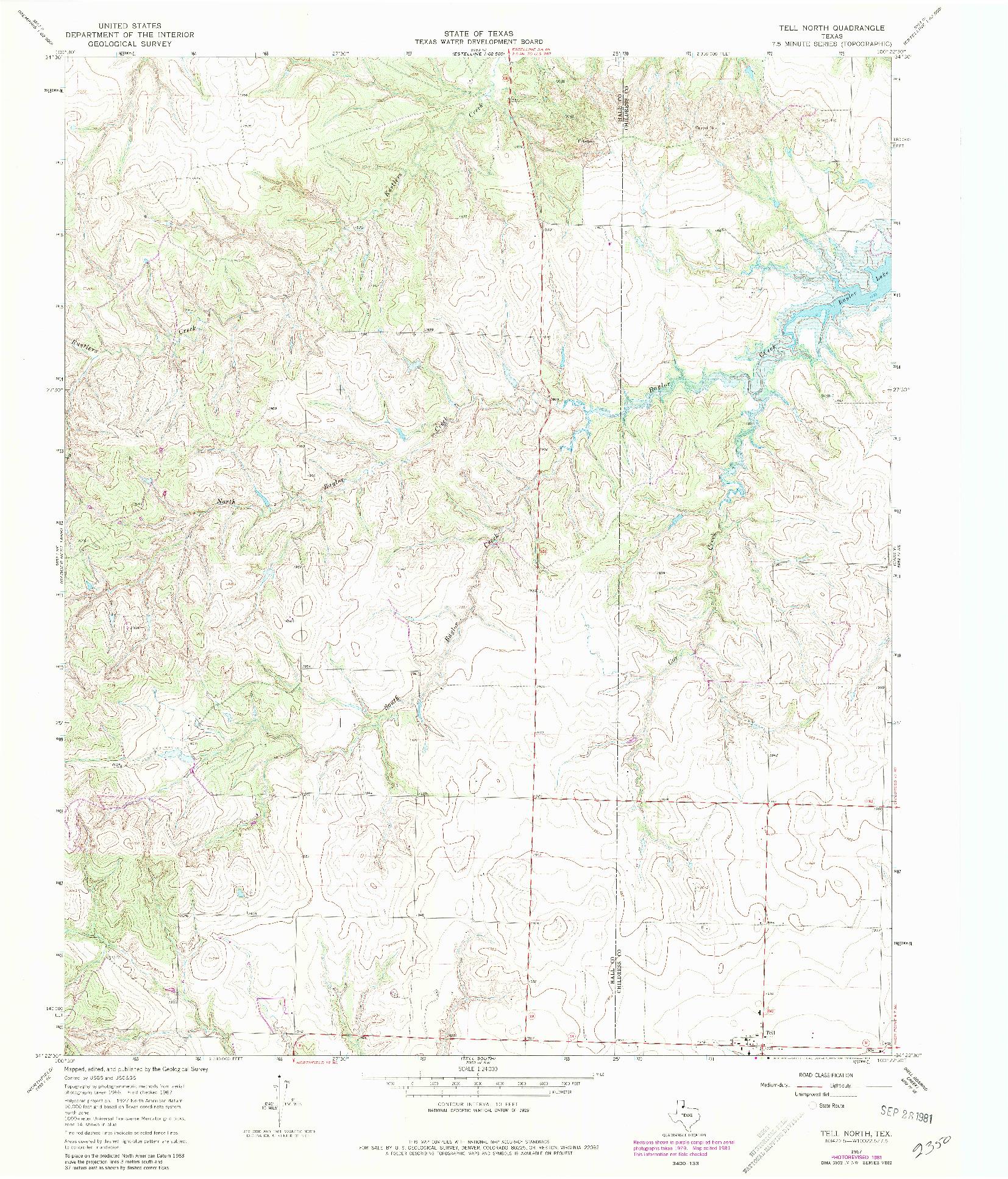 USGS 1:24000-SCALE QUADRANGLE FOR TELL NORTH, TX 1967