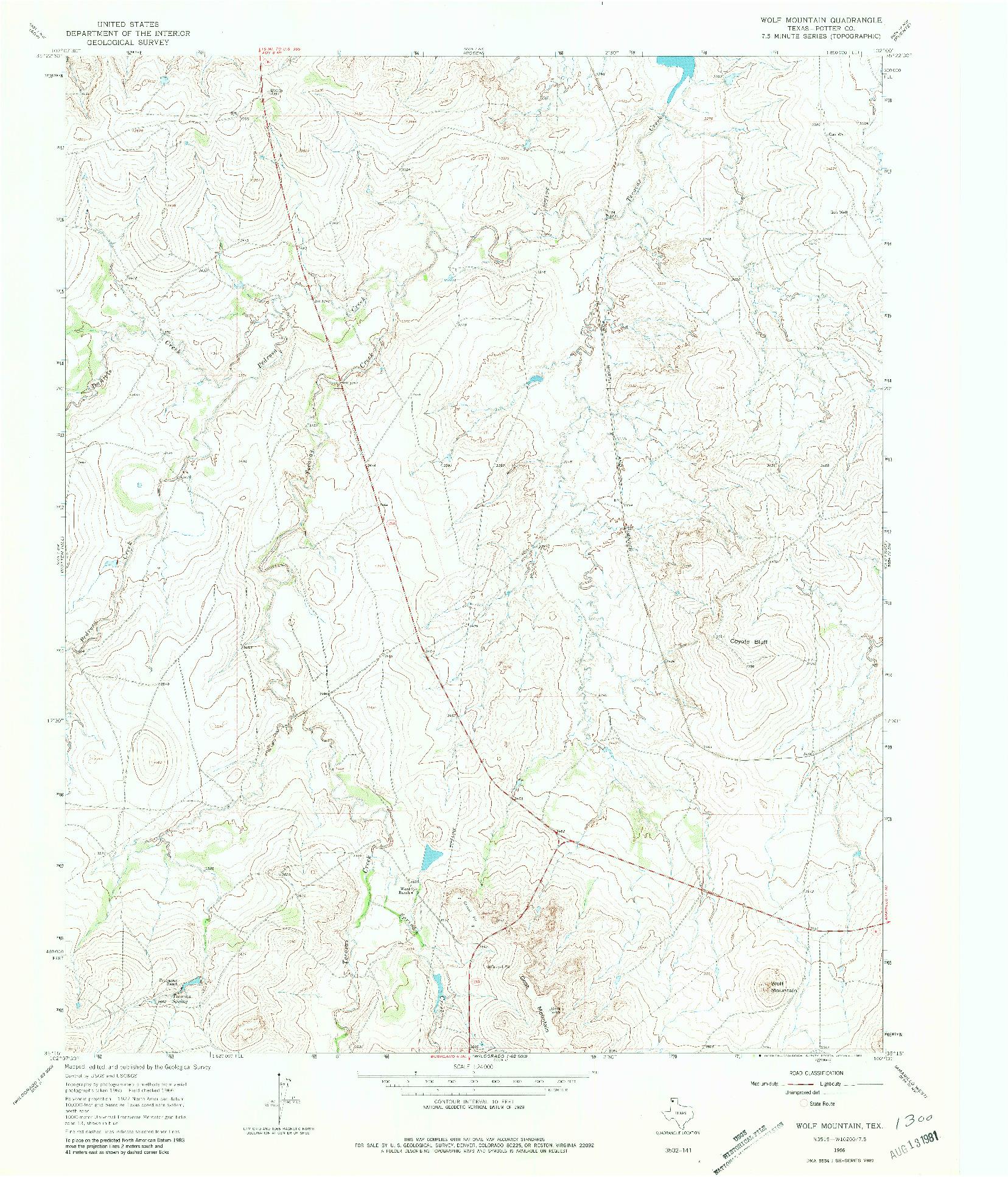USGS 1:24000-SCALE QUADRANGLE FOR WOLF MOUNTAIN, TX 1966