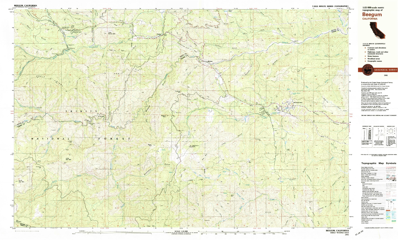 USGS 1:25000-SCALE QUADRANGLE FOR BEEGUM, CA 1981