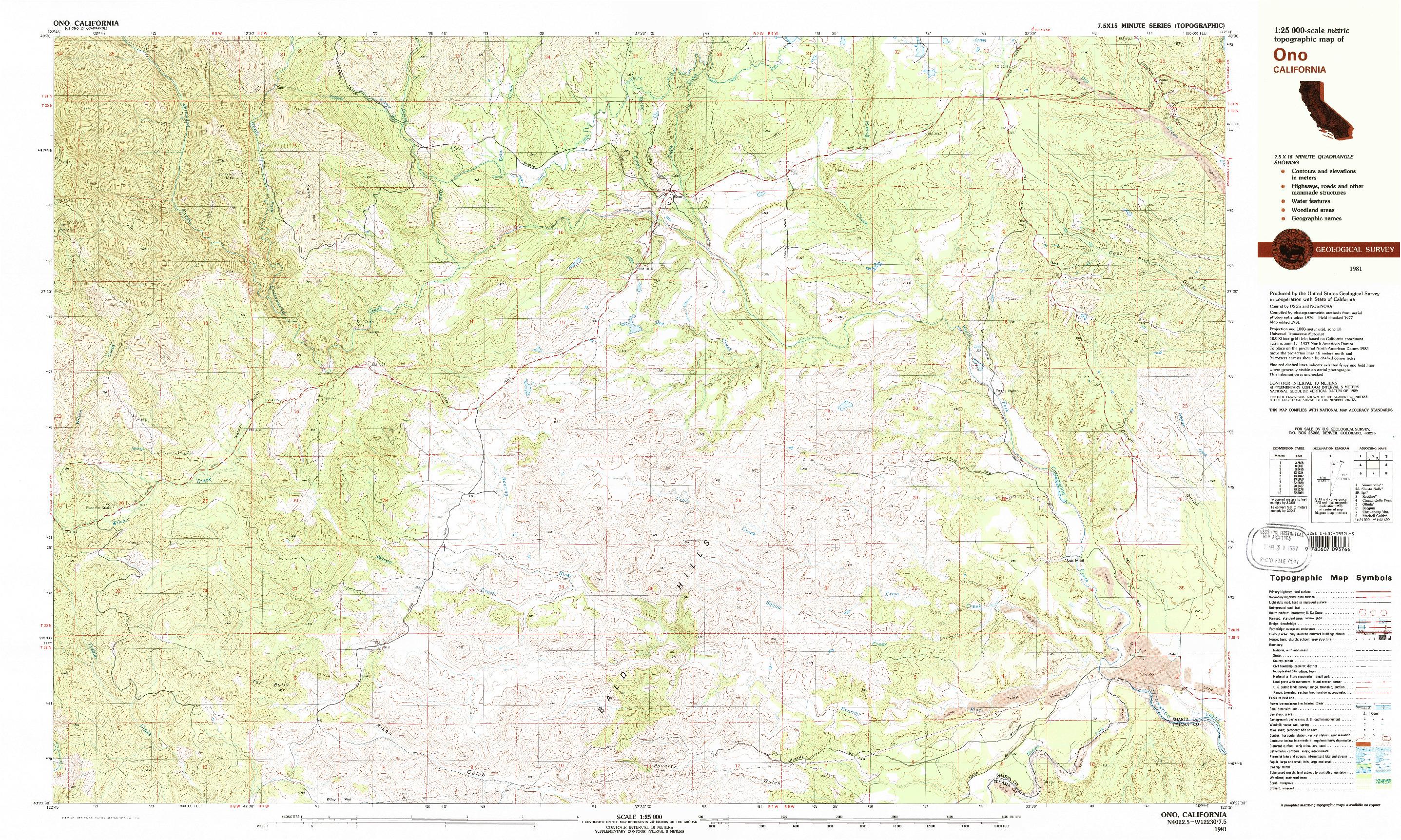 USGS 1:25000-SCALE QUADRANGLE FOR ONO, CA 1981