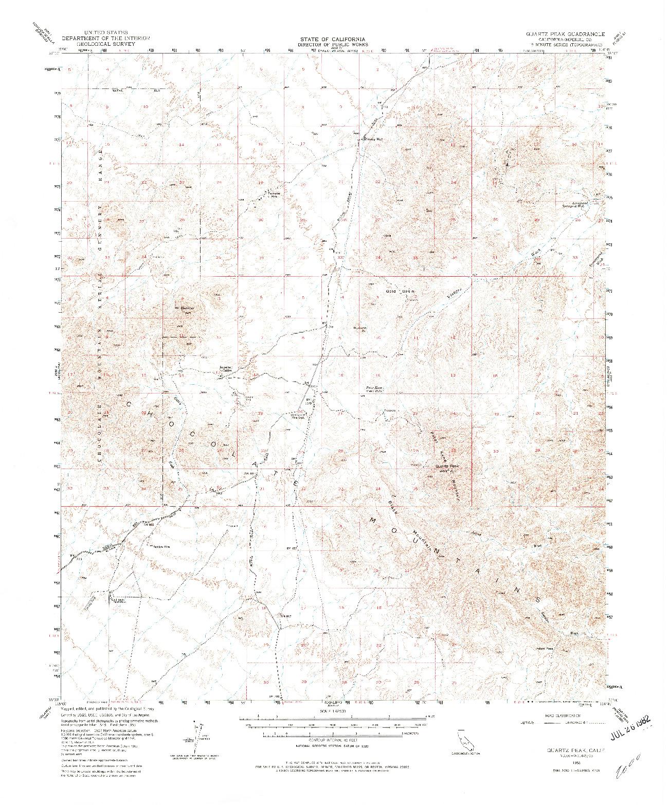 USGS 1:62500-SCALE QUADRANGLE FOR QUARTZ PEAK, CA 1953