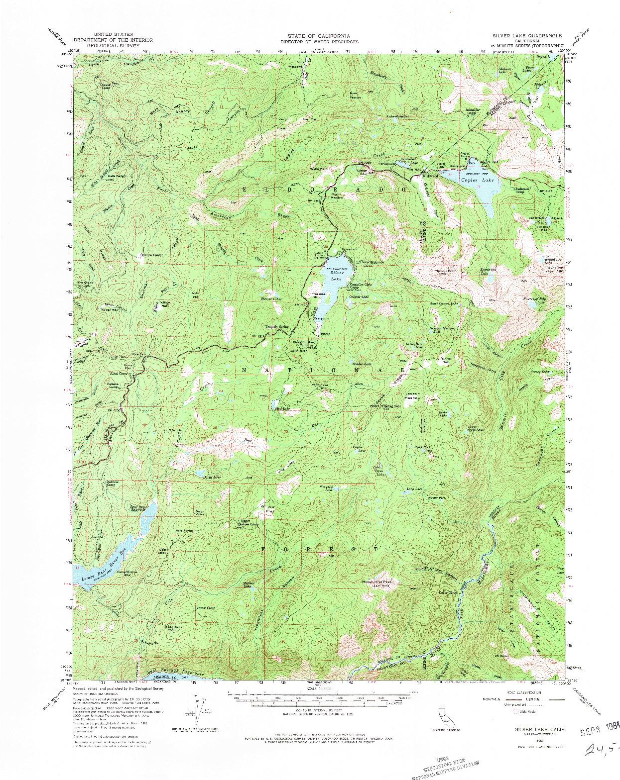 USGS 1:62500-SCALE QUADRANGLE FOR SILVER LAKE, CA 1956