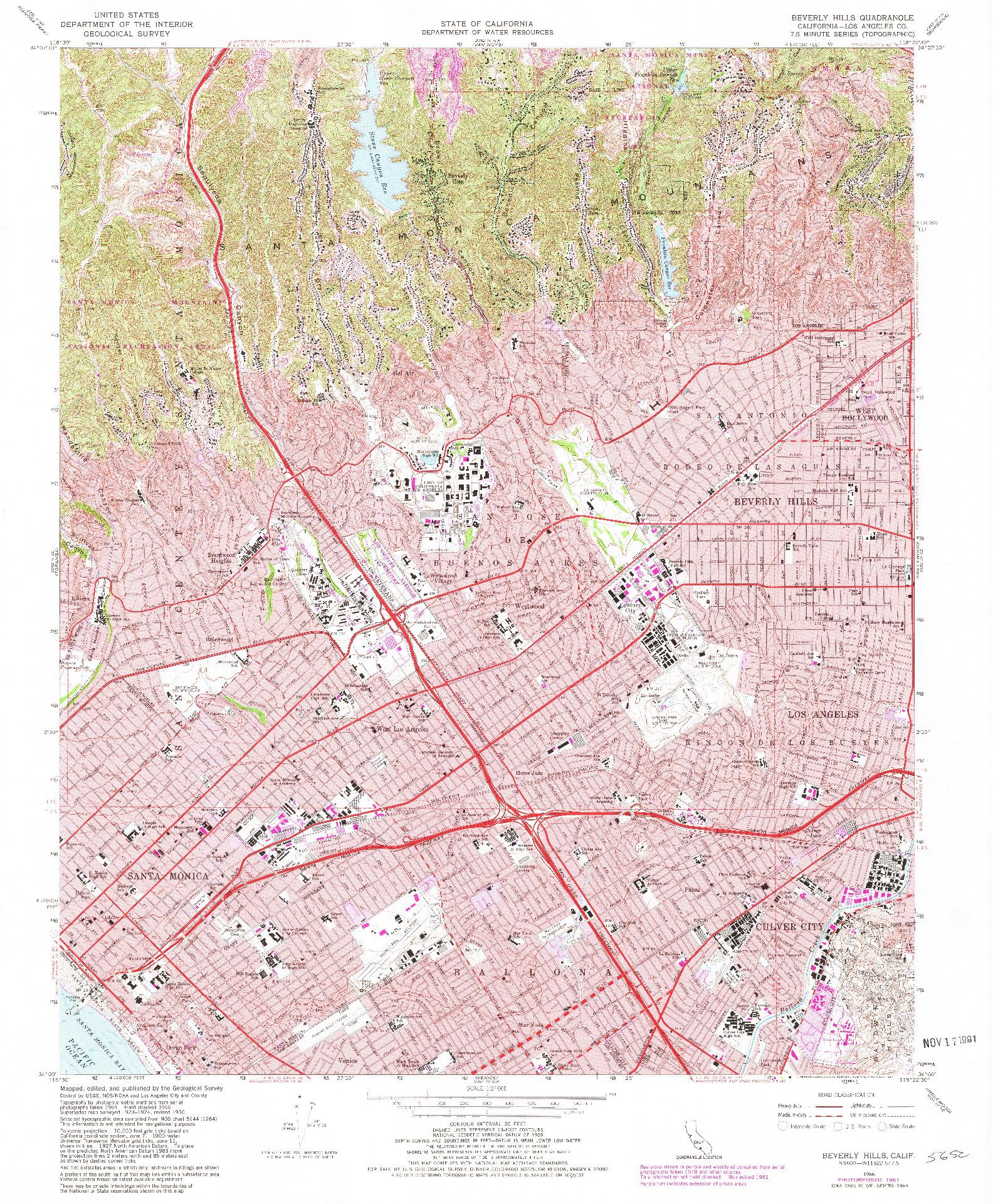 USGS 1:24000-SCALE QUADRANGLE FOR BEVERLY HILLS, CA 1966