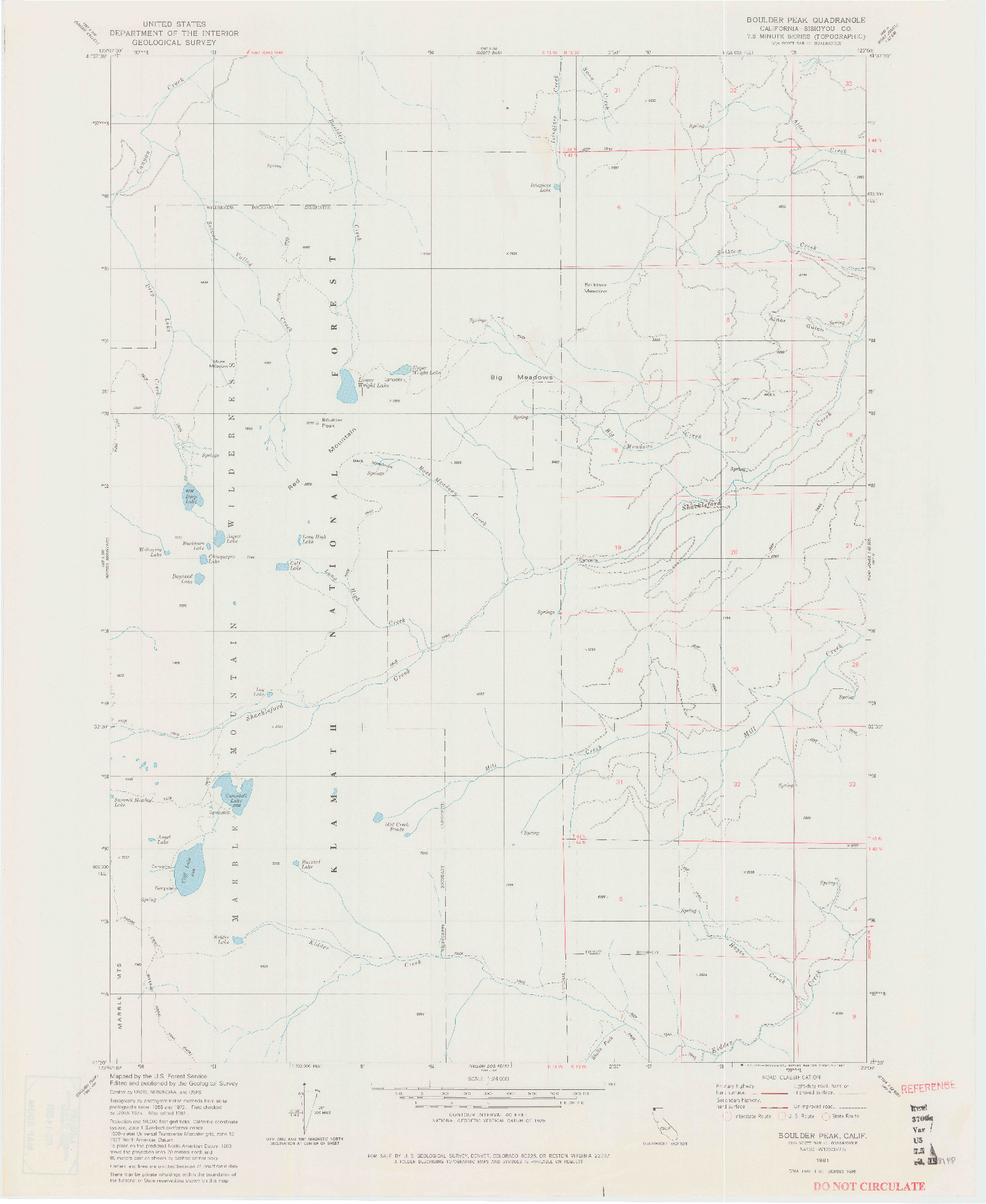 USGS 1:24000-SCALE QUADRANGLE FOR BOULDER PEAK, CA 1981