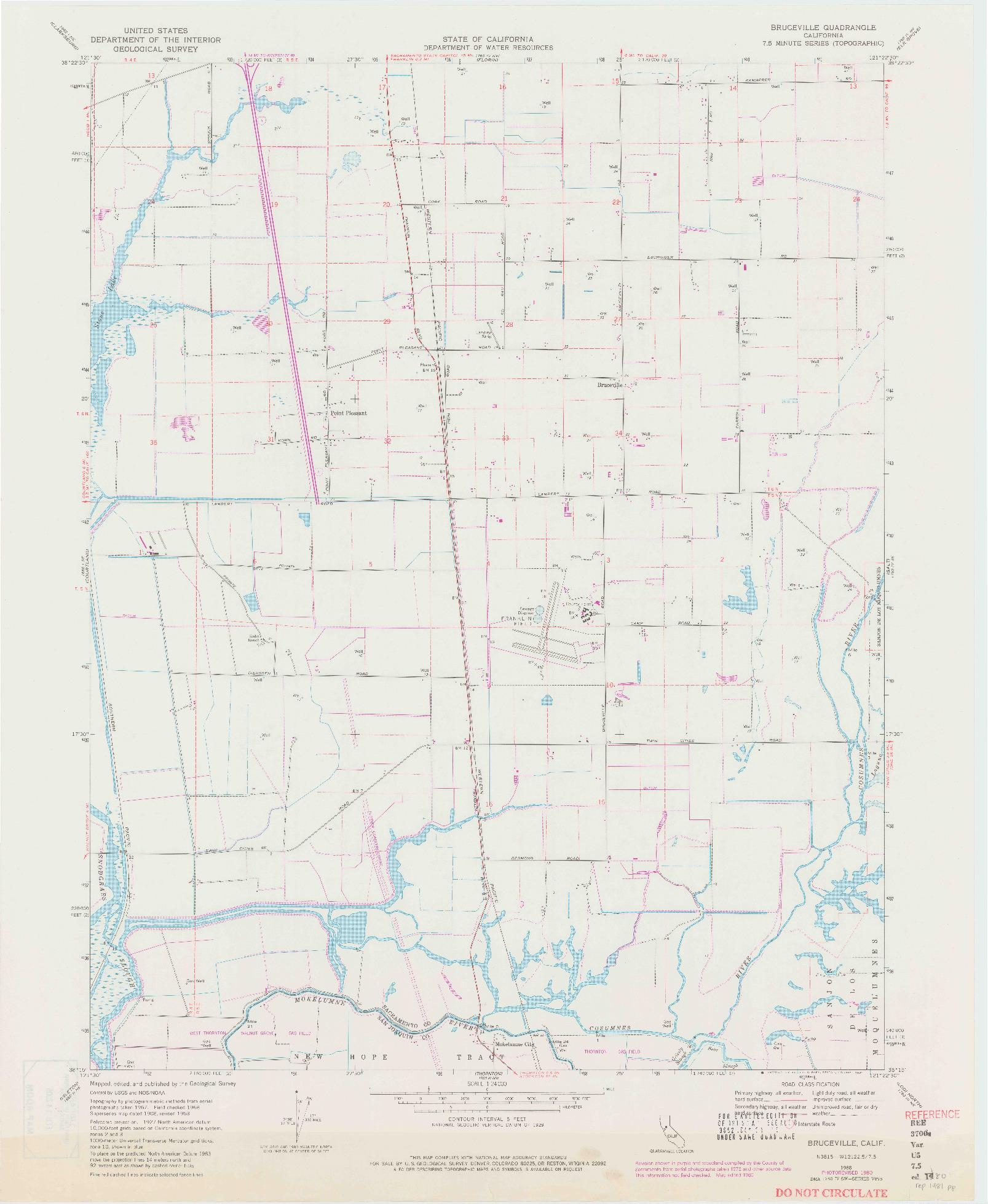 USGS 1:24000-SCALE QUADRANGLE FOR BRUCEVILLE, CA 1968