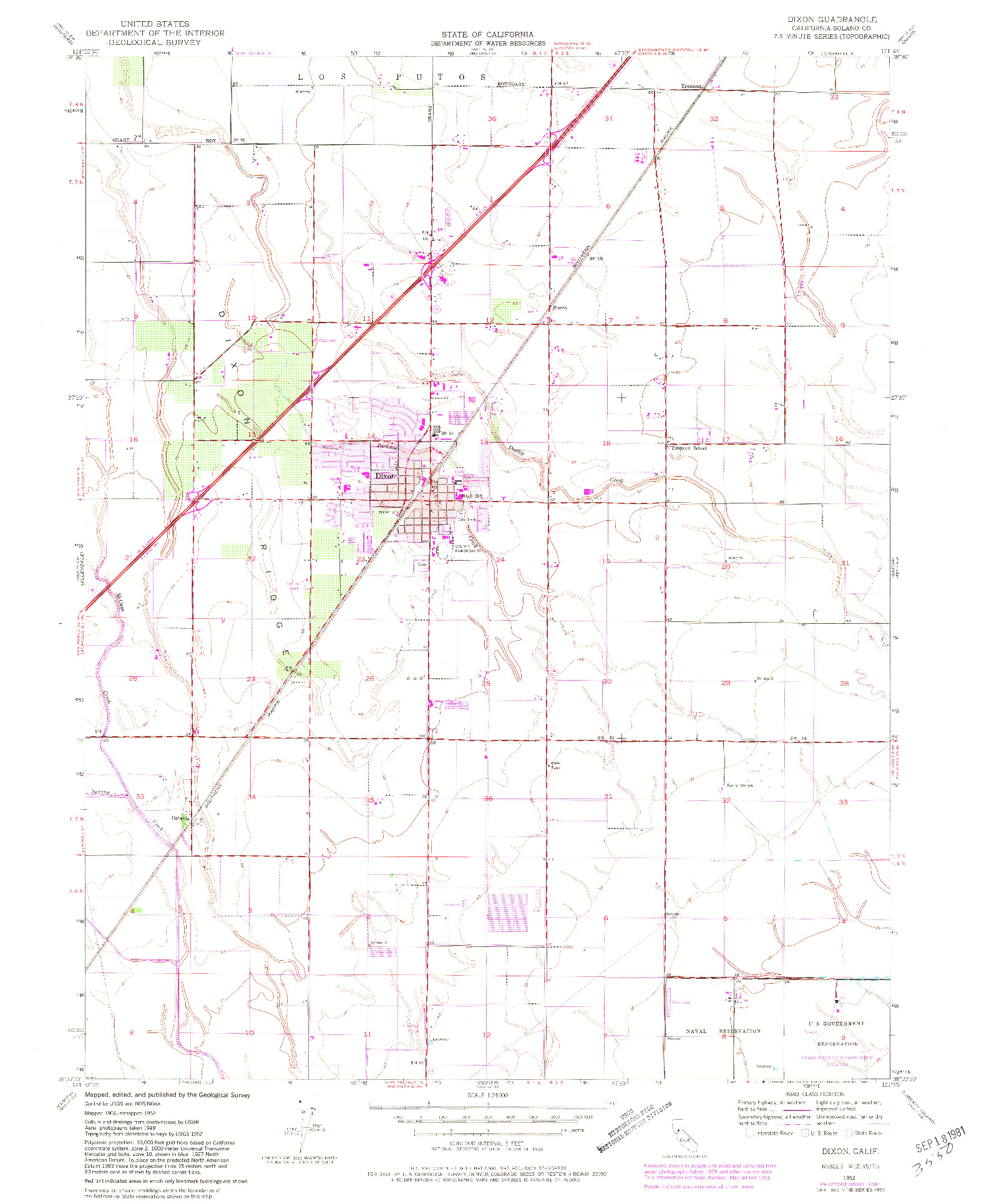 USGS 1:24000-SCALE QUADRANGLE FOR DIXON, CA 1952