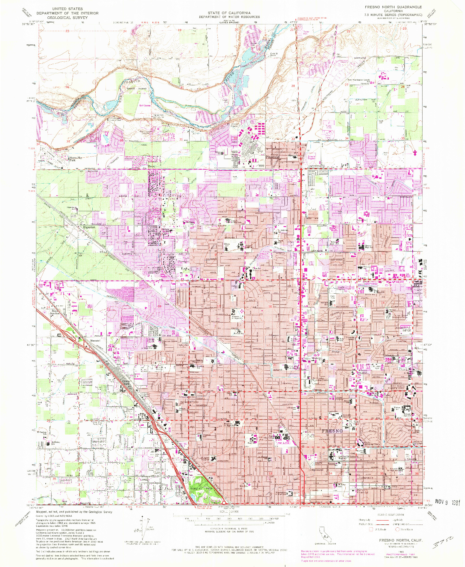 USGS 1:24000-SCALE QUADRANGLE FOR FRESNO NORTH, CA 1965