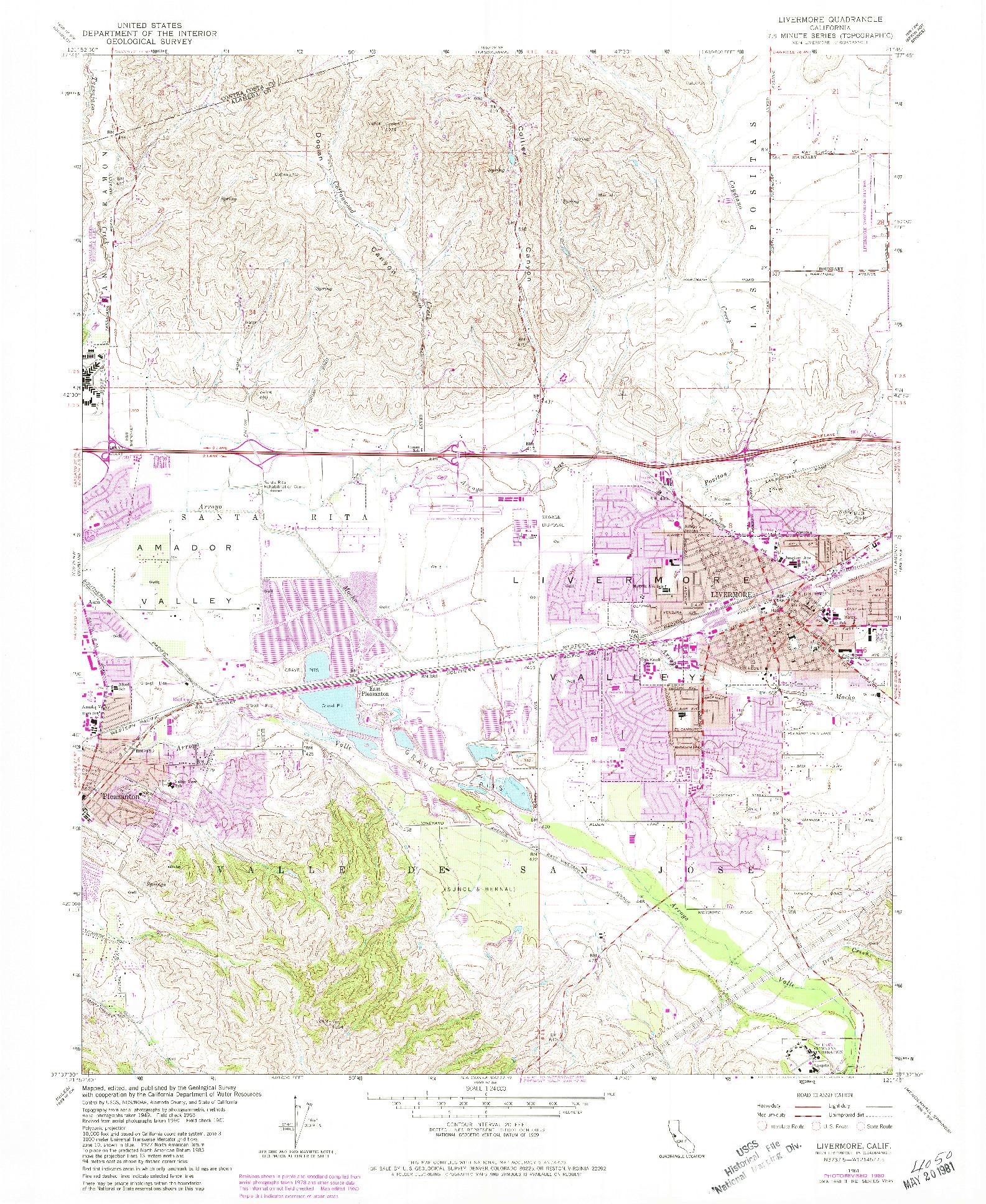 USGS 1:24000-SCALE QUADRANGLE FOR LIVERMORE, CA 1961