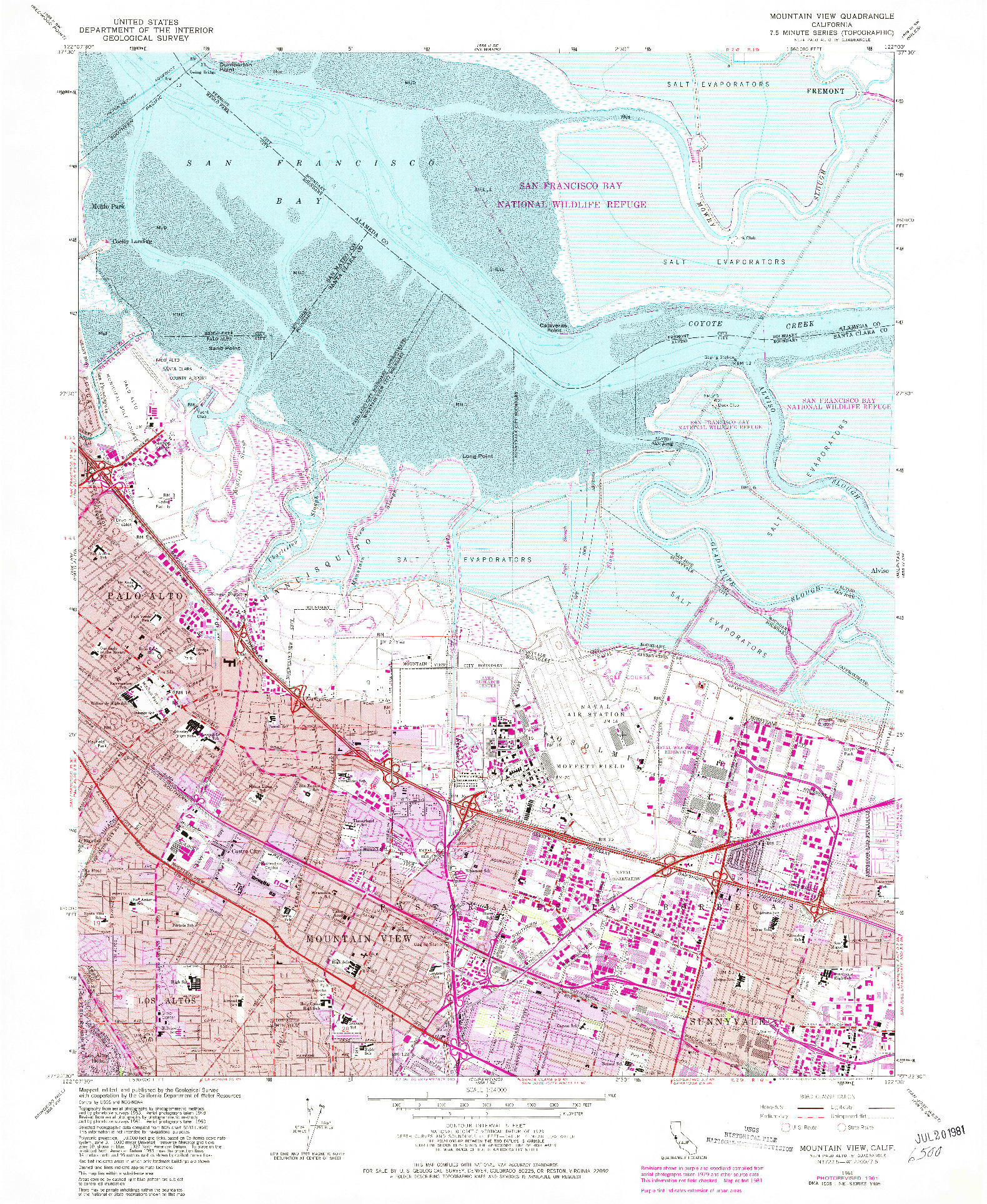 USGS 1:24000-SCALE QUADRANGLE FOR MOUNTAIN VIEW, CA 1961