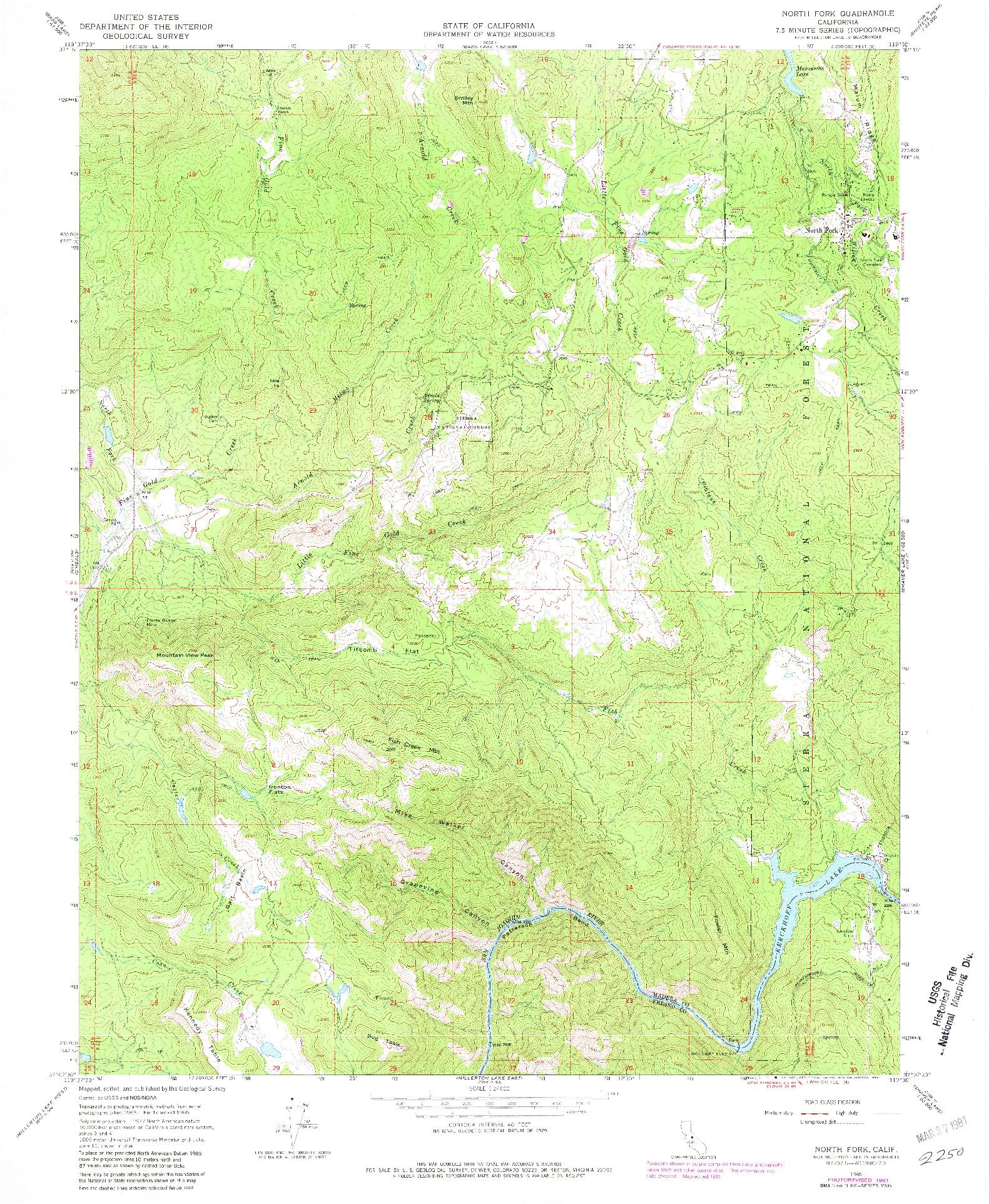 USGS 1:24000-SCALE QUADRANGLE FOR NORTH FORK, CA 1965