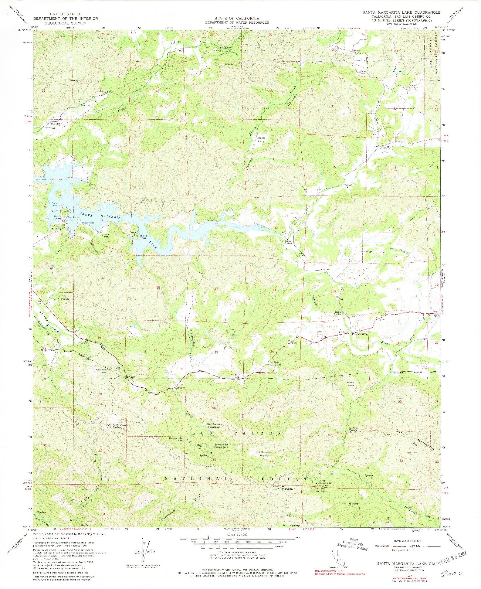 USGS 1:24000-SCALE QUADRANGLE FOR SANTA MARGARITA LAKE, CA 1967