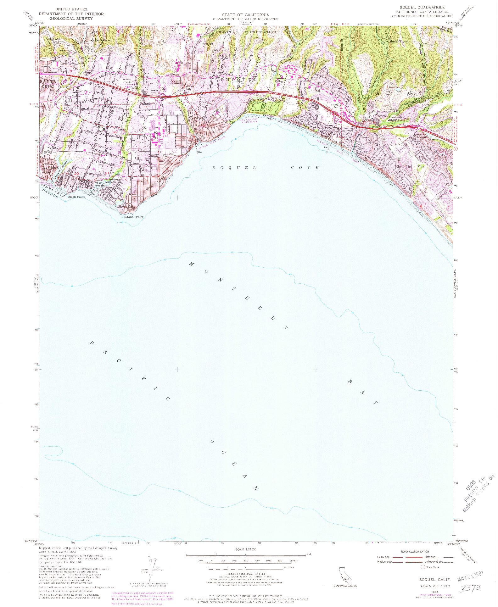 USGS 1:24000-SCALE QUADRANGLE FOR SOQUEL, CA 1954