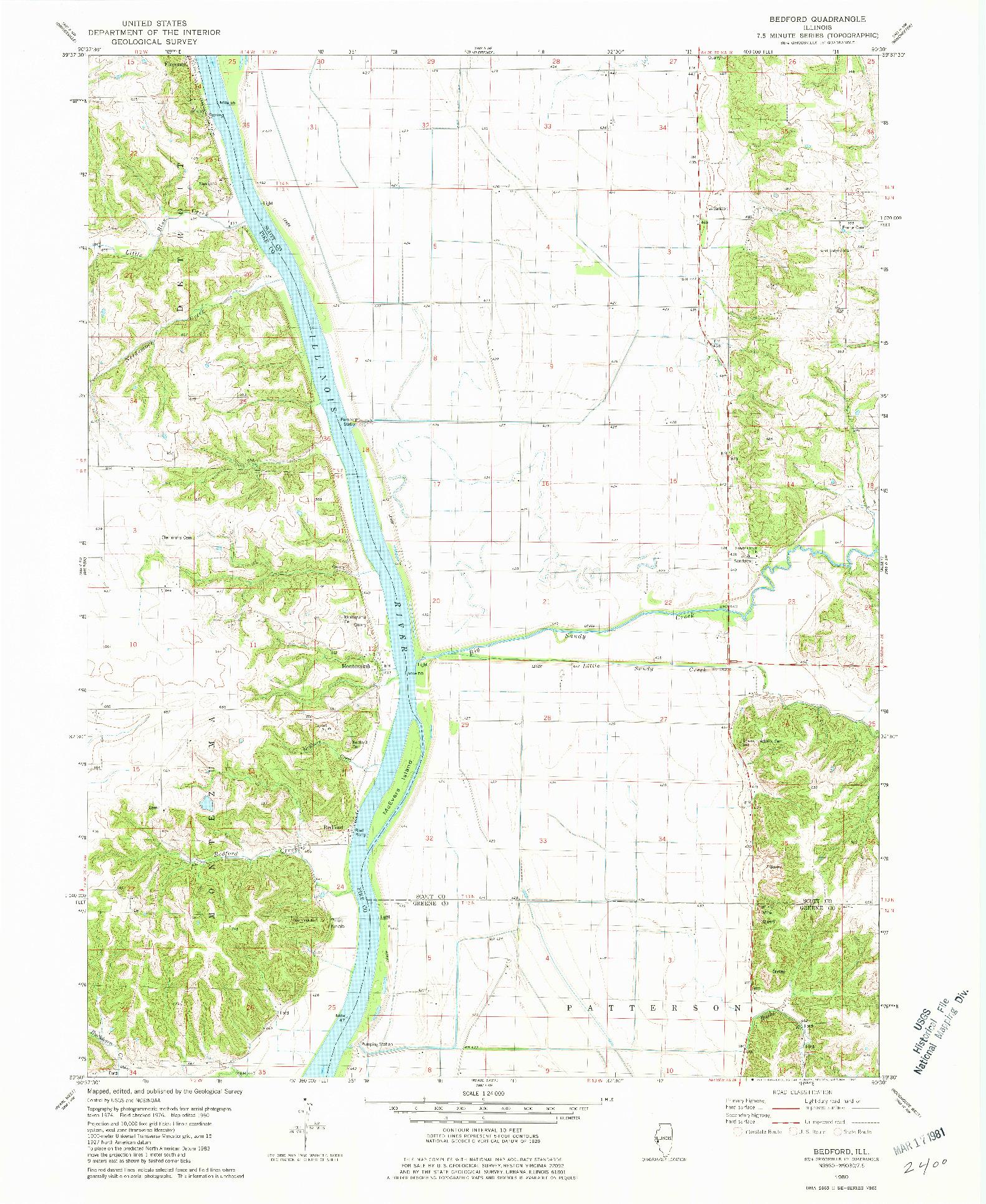 USGS 1:24000-SCALE QUADRANGLE FOR BEDFORD, IL 1980