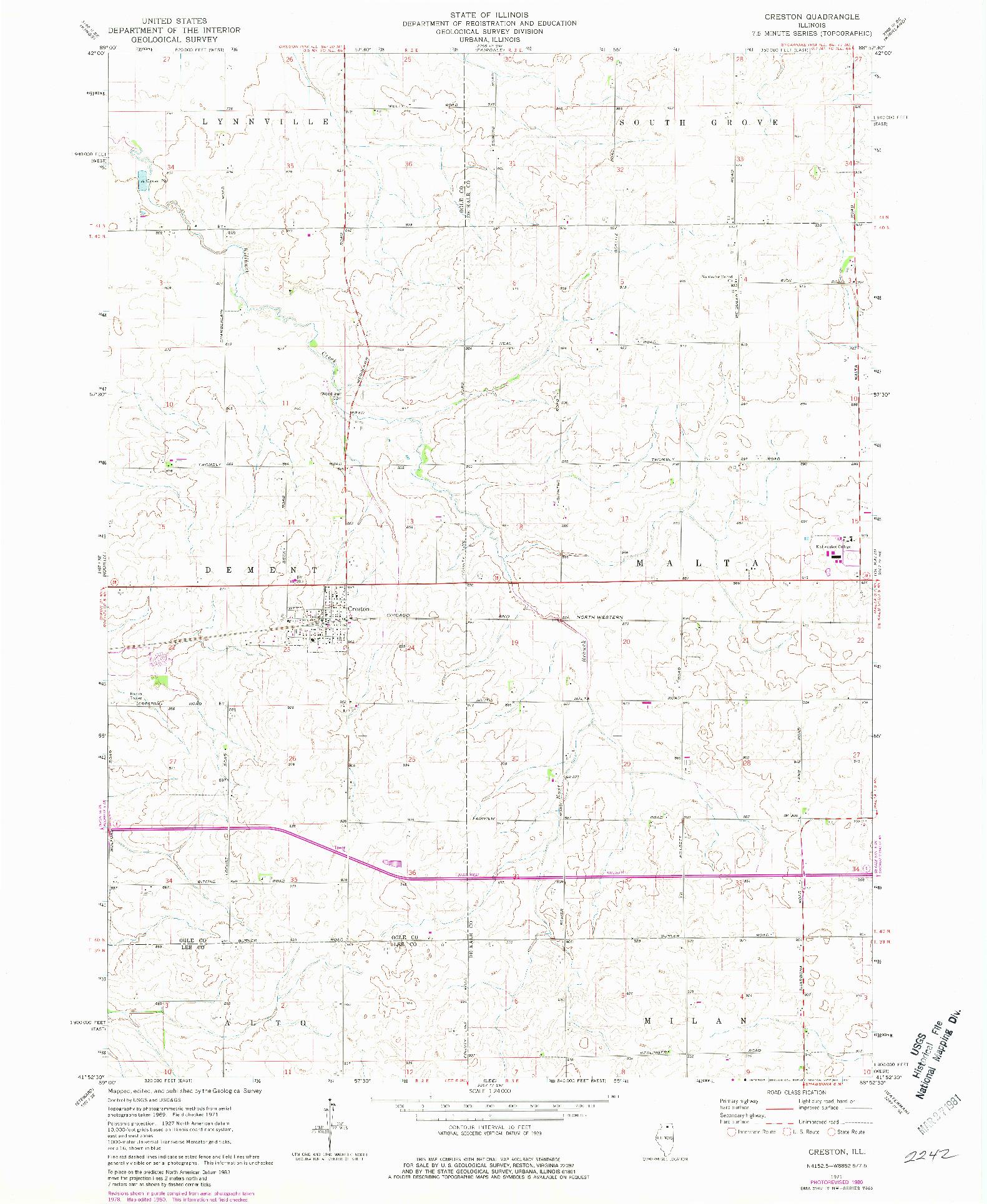USGS 1:24000-SCALE QUADRANGLE FOR CRESTON, IL 1971