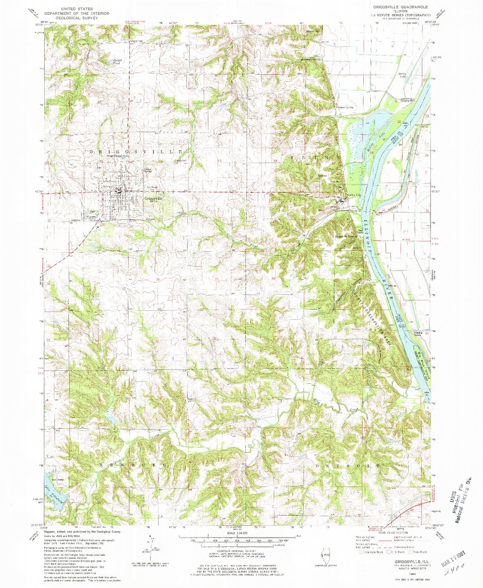 USGS 1:24000-SCALE QUADRANGLE FOR GRIGGSVILLE, IL 1980