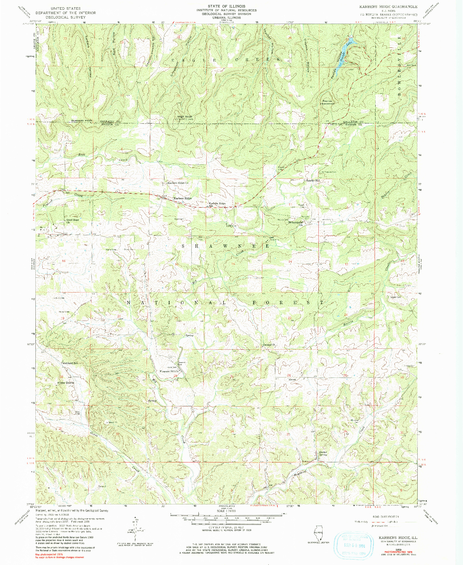 USGS 1:24000-SCALE QUADRANGLE FOR KARBERS RIDGE, IL 1959
