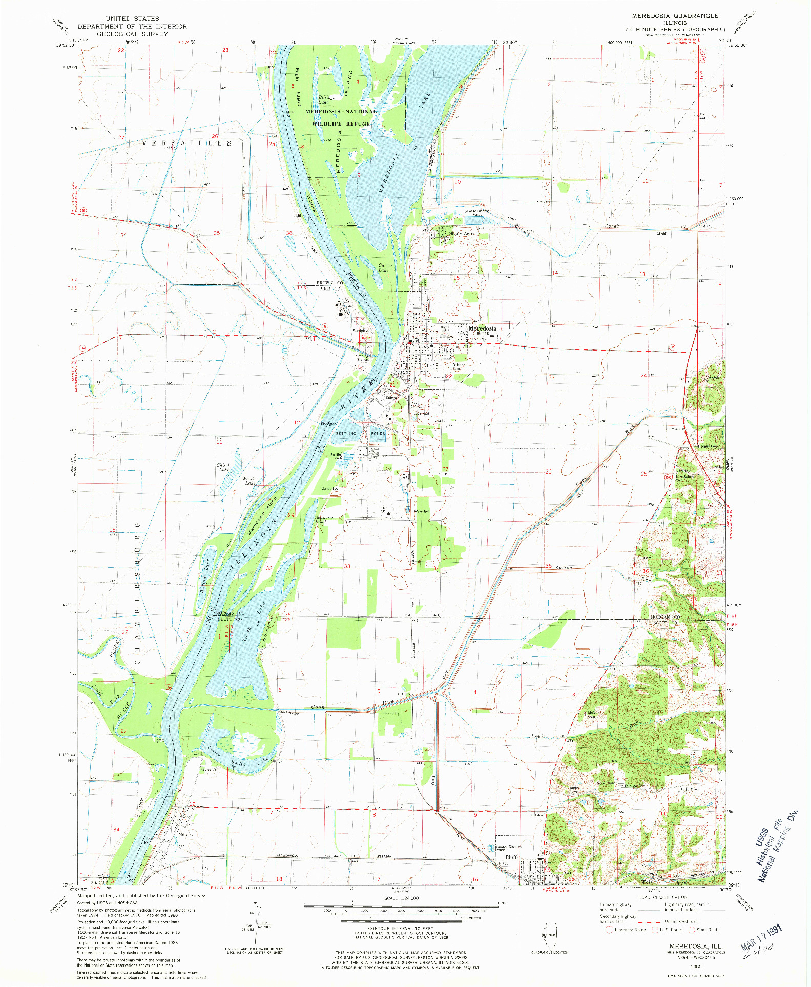 USGS 1:24000-SCALE QUADRANGLE FOR MEREDOSIA, IL 1980