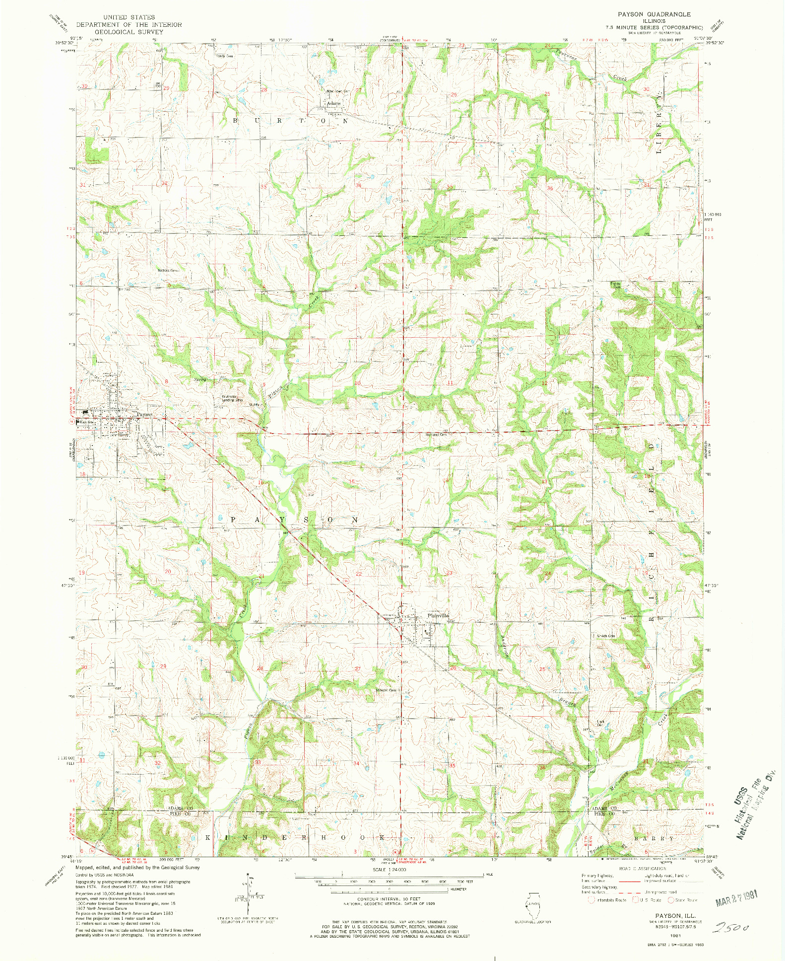 USGS 1:24000-SCALE QUADRANGLE FOR PAYSON, IL 1981