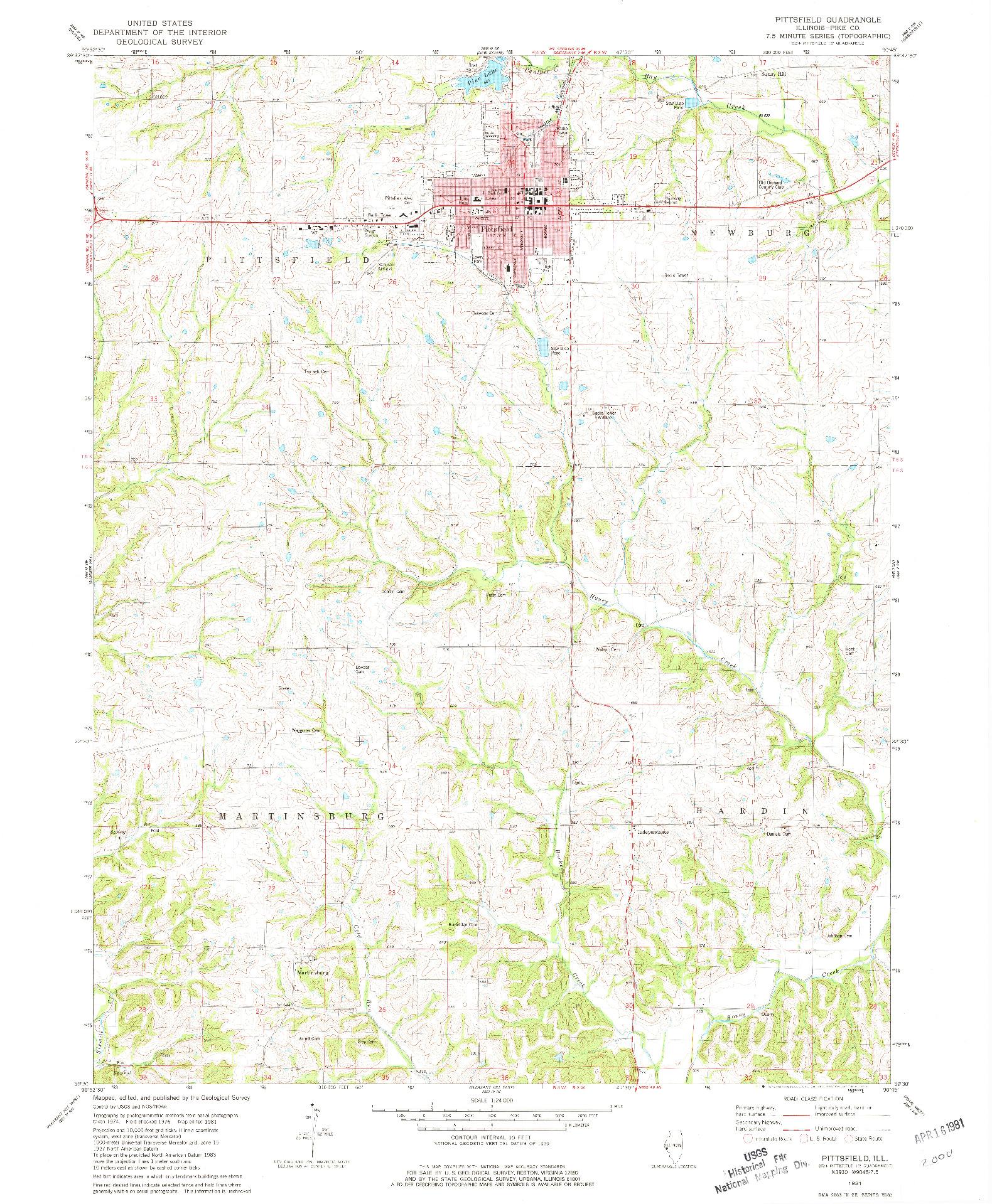 USGS 1:24000-SCALE QUADRANGLE FOR PITTSFIELD SE, IL 1981