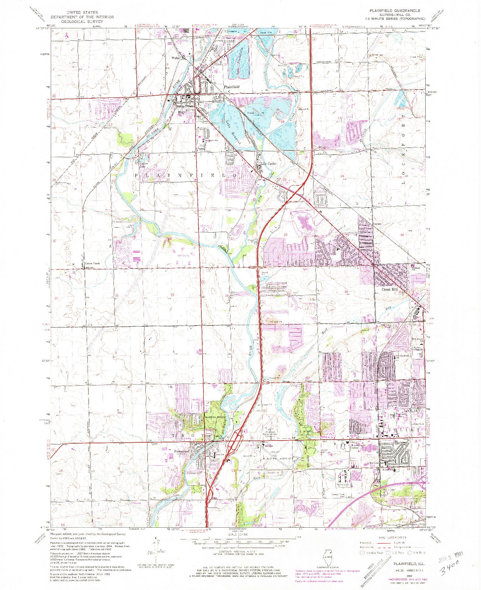 USGS 1:24000-SCALE QUADRANGLE FOR PLAINFIELD, IL 1962