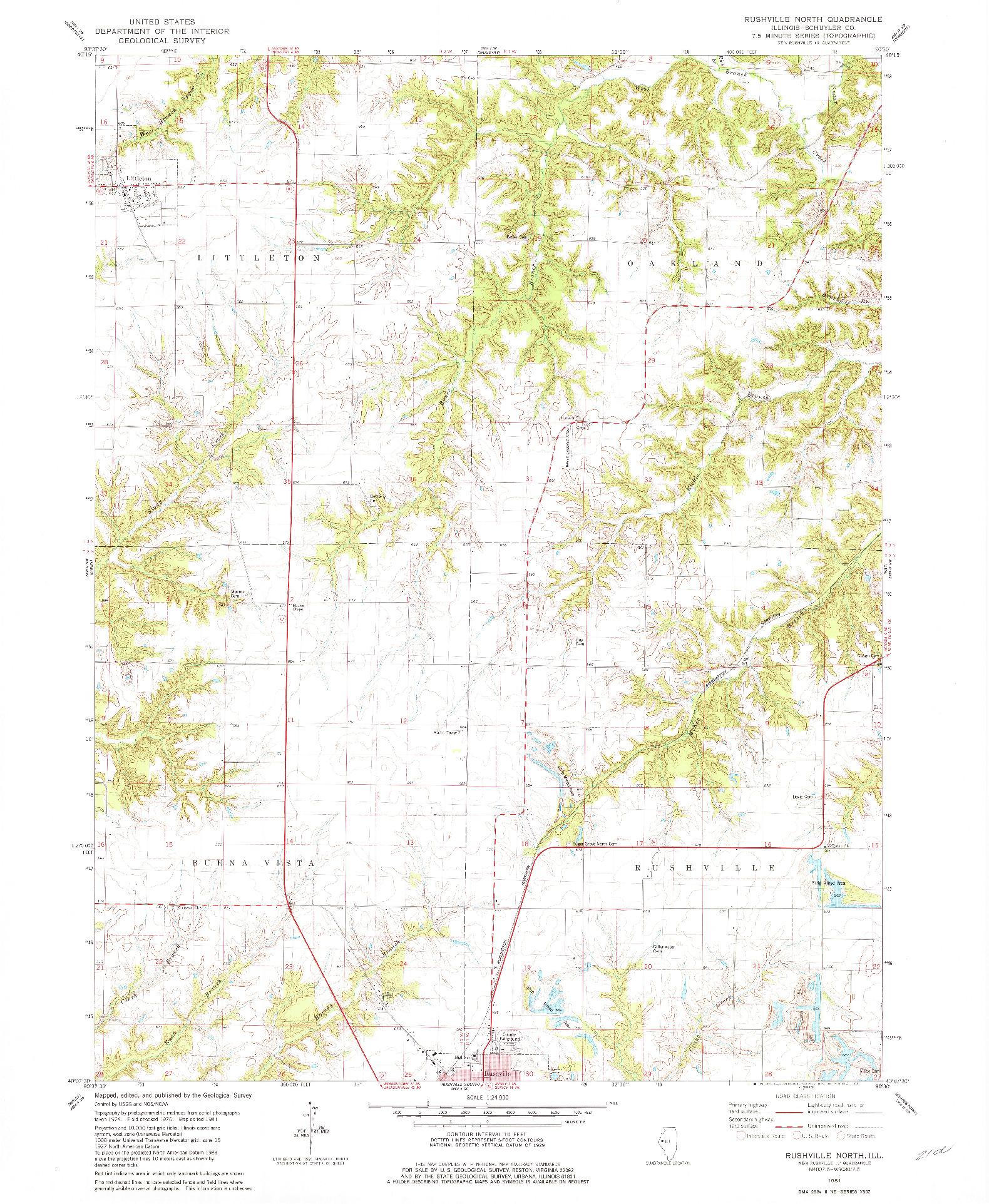 USGS 1:24000-SCALE QUADRANGLE FOR RUSHVILLE NORTH, IL 1981