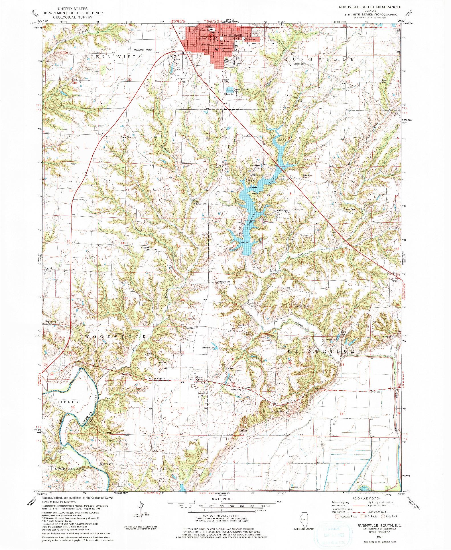USGS 1:24000-SCALE QUADRANGLE FOR RUSHVILLE SOUTH, IL 1981