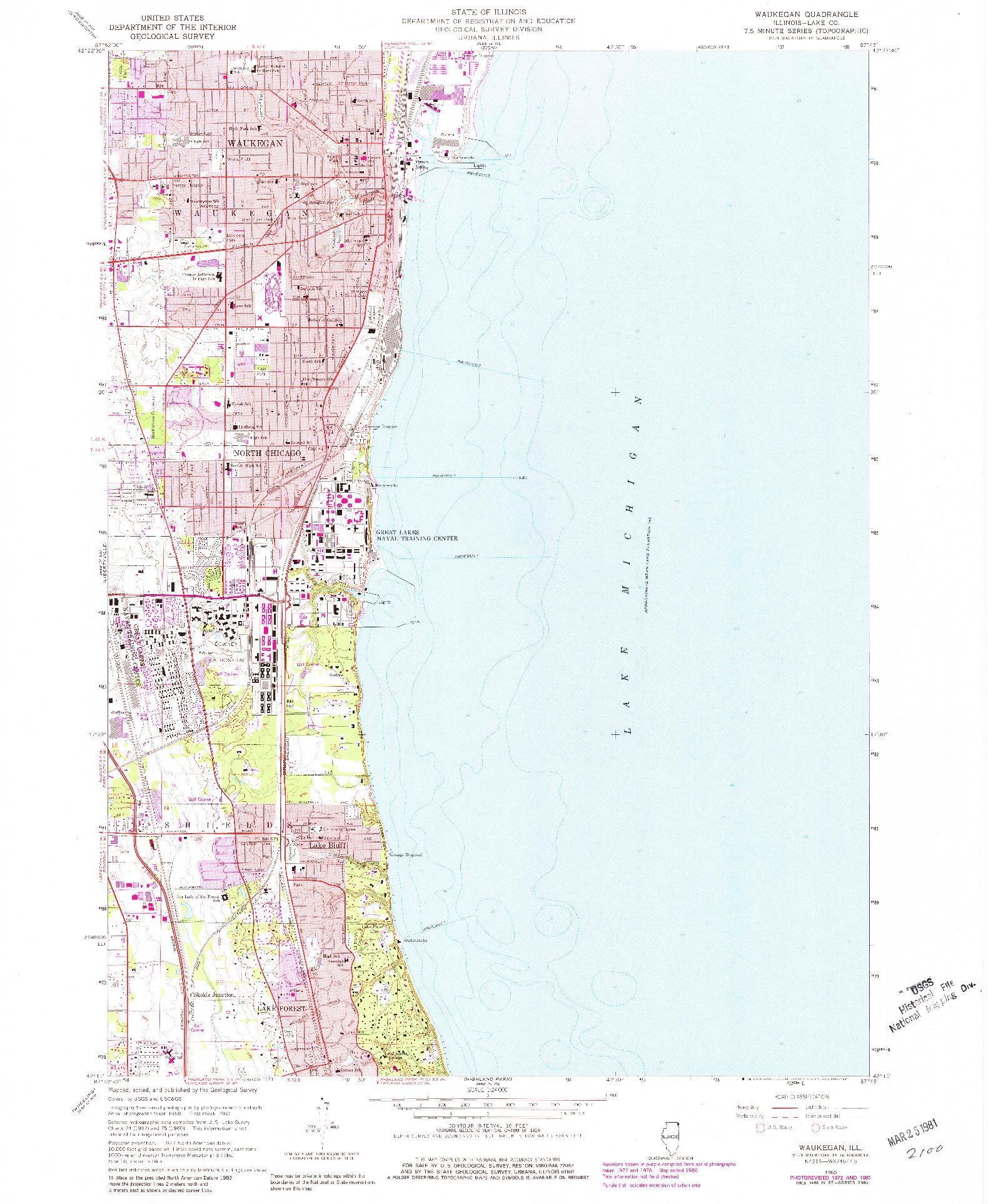 USGS 1:24000-SCALE QUADRANGLE FOR WEUKEGAN, IL 1960