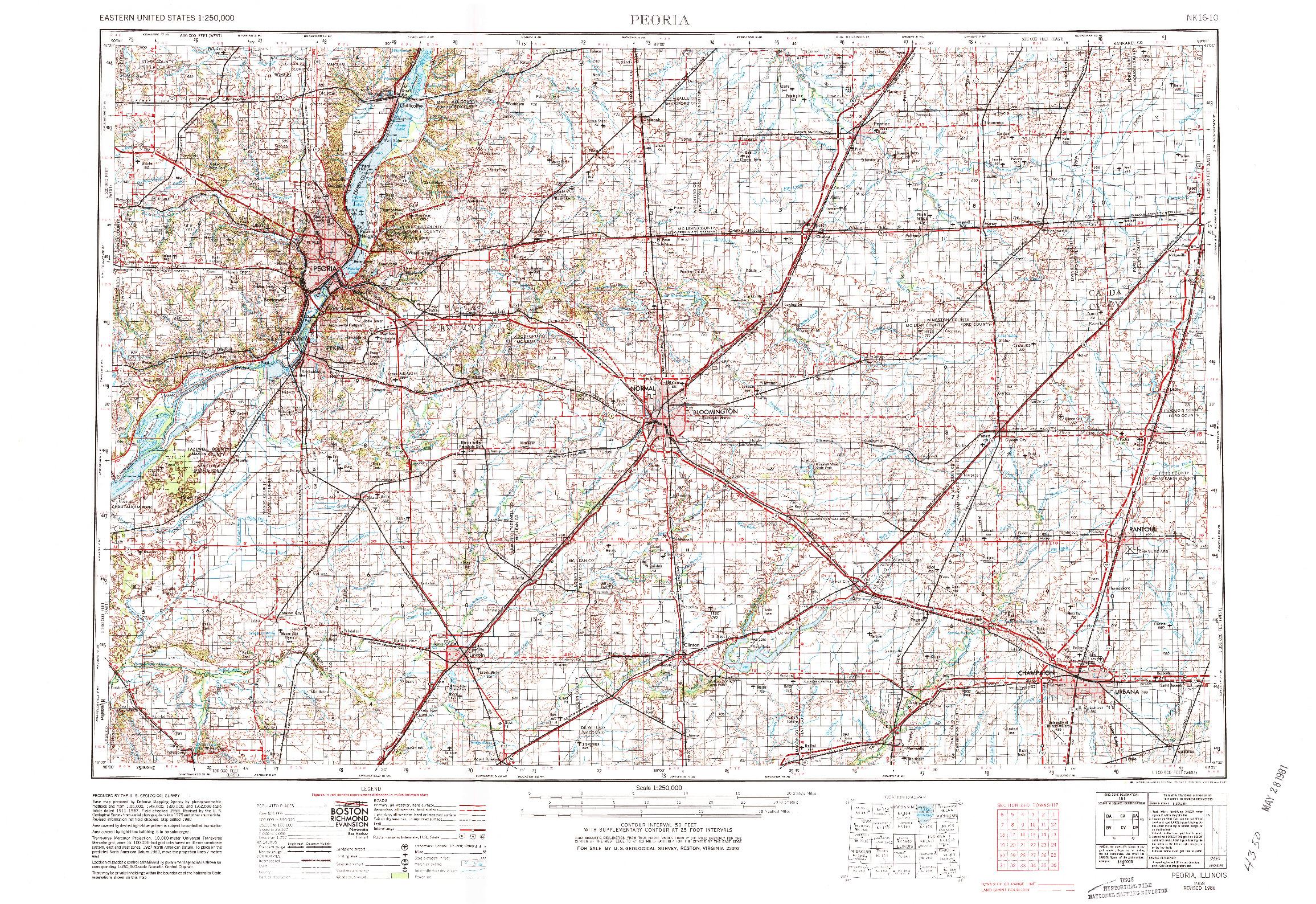 USGS 1:250000-SCALE QUADRANGLE FOR PEORIA, IL 1958