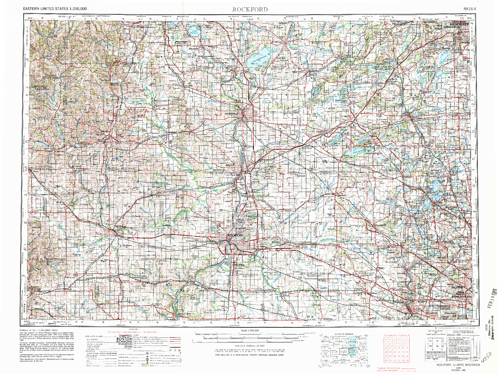 USGS 1:250000-SCALE QUADRANGLE FOR ROCKFORD, IL 1958