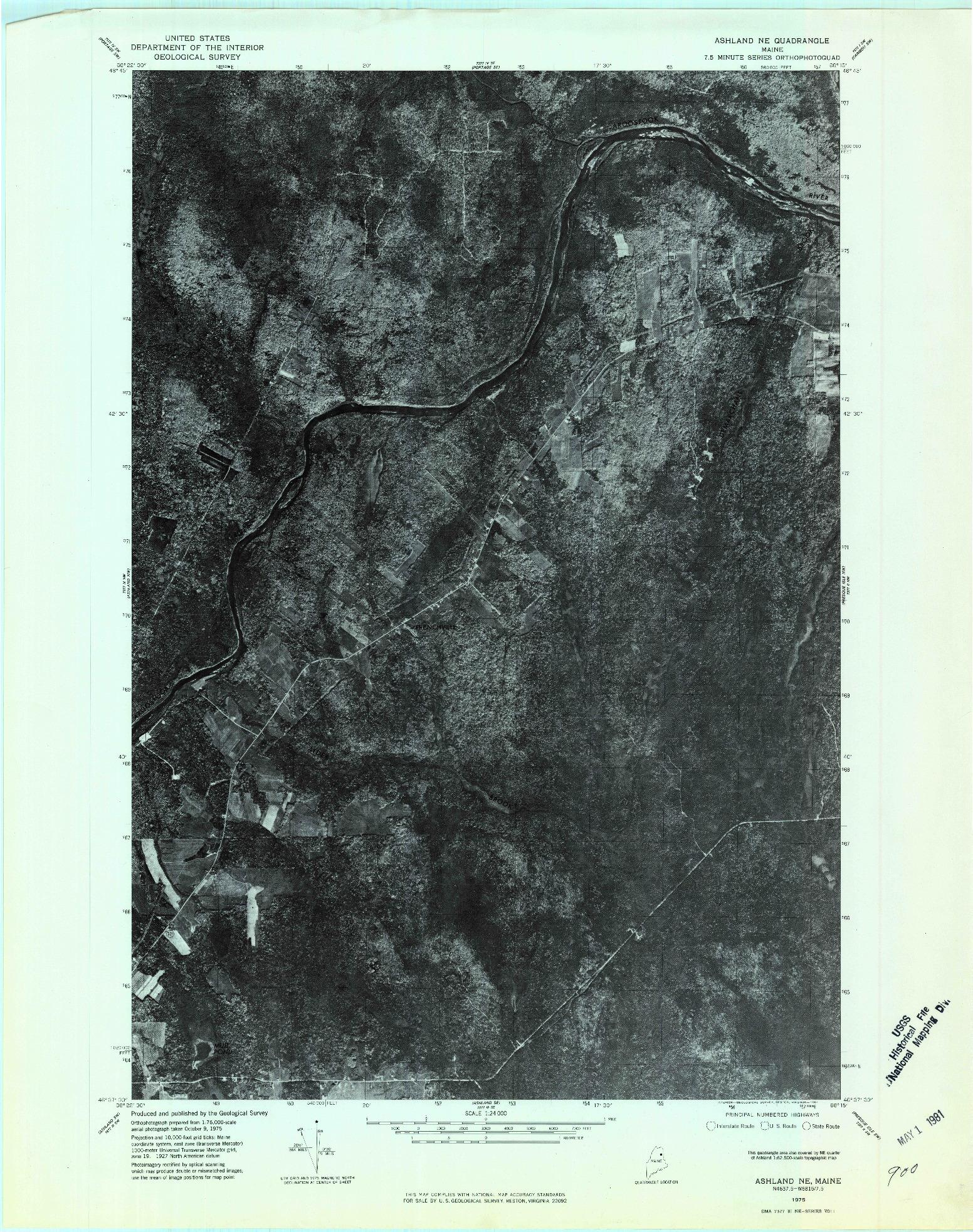USGS 1:24000-SCALE QUADRANGLE FOR ASHLAND NE, ME 1975