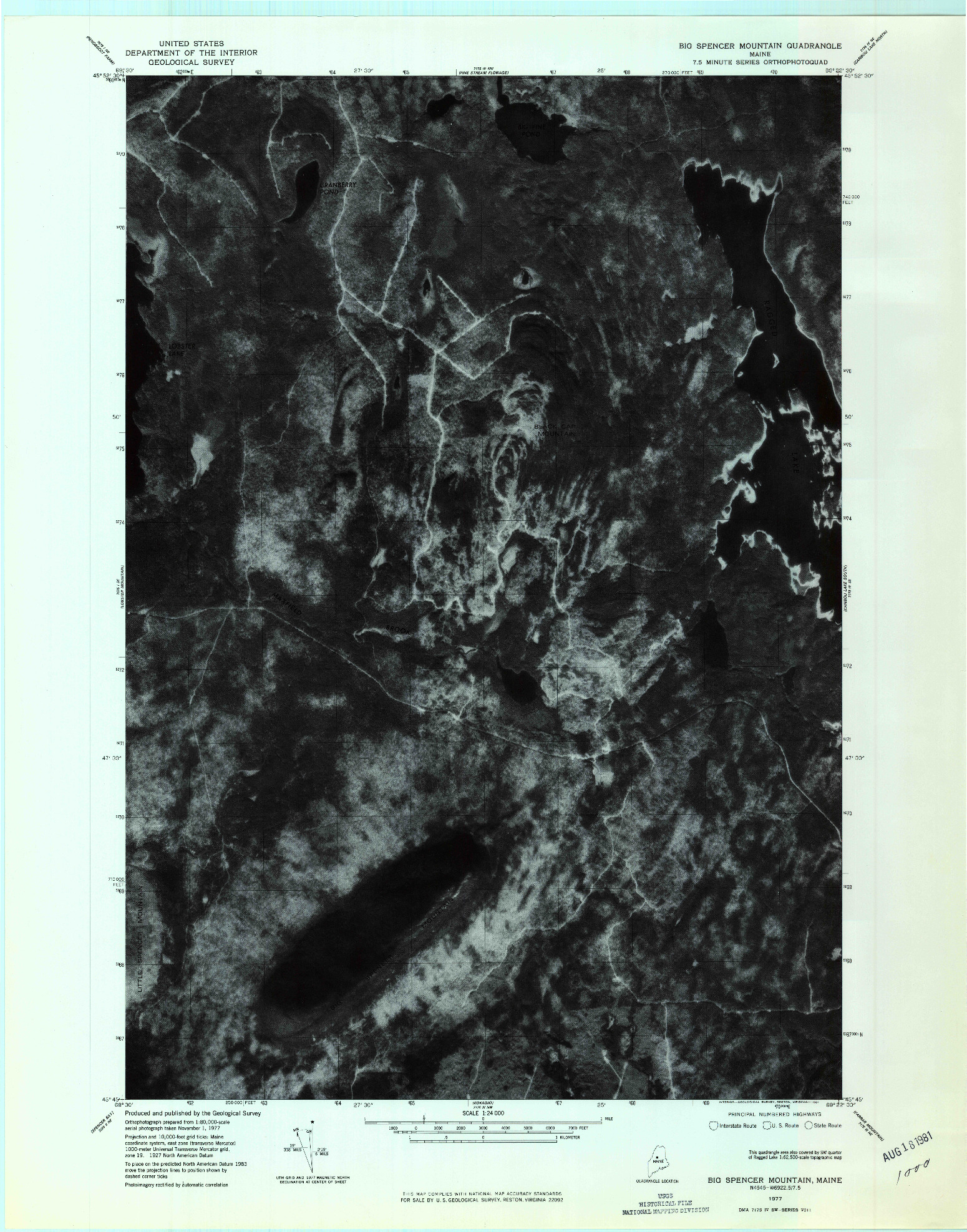 USGS 1:24000-SCALE QUADRANGLE FOR BIG SPENCER MOUNTAIN, ME 1977