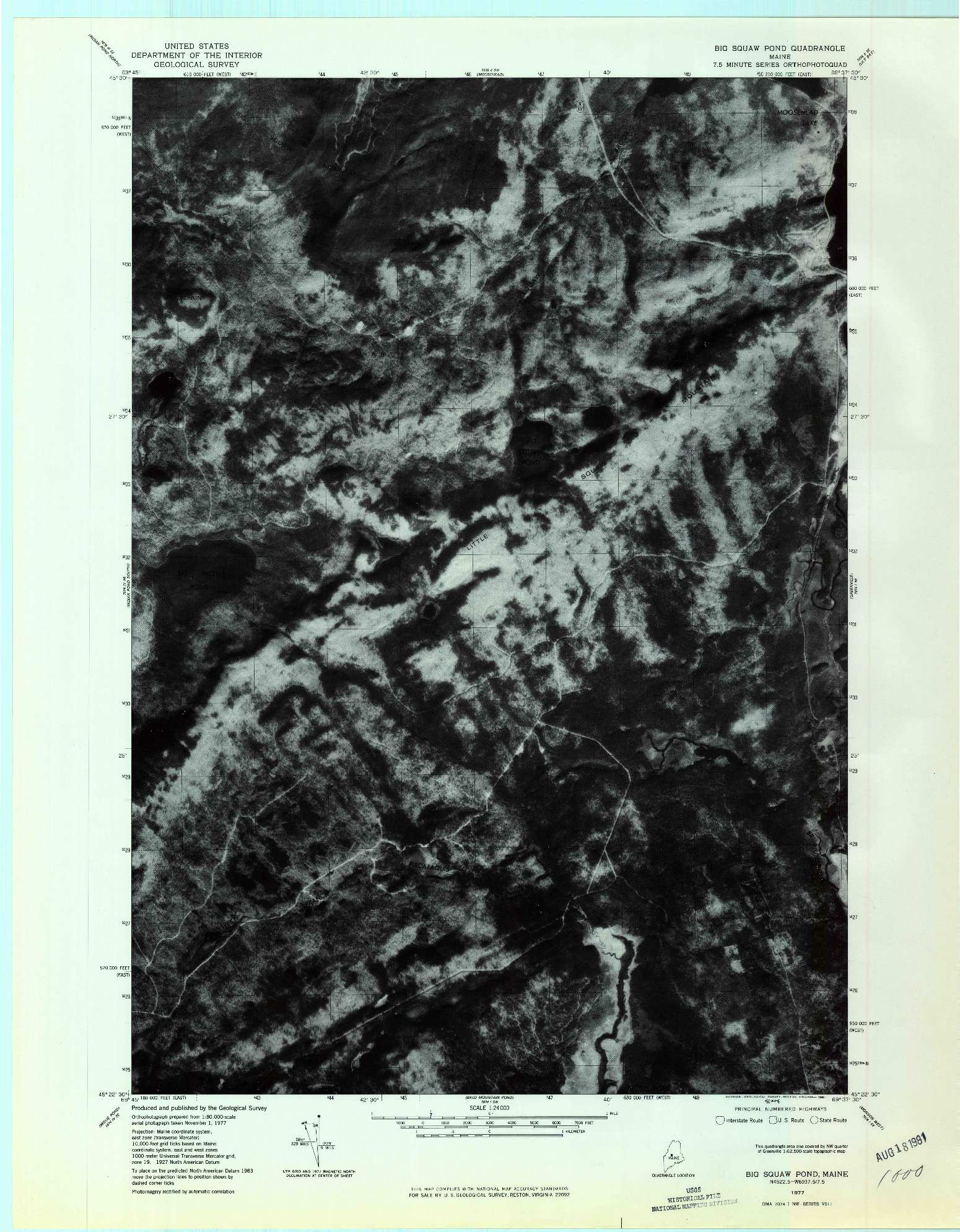 USGS 1:24000-SCALE QUADRANGLE FOR BIG SQUAW POND, ME 1977