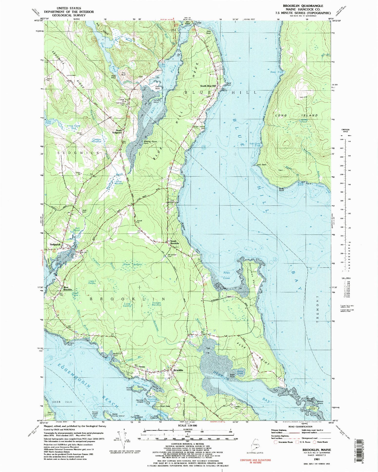 USGS 1:24000-SCALE QUADRANGLE FOR BROOKLIN, ME 1981