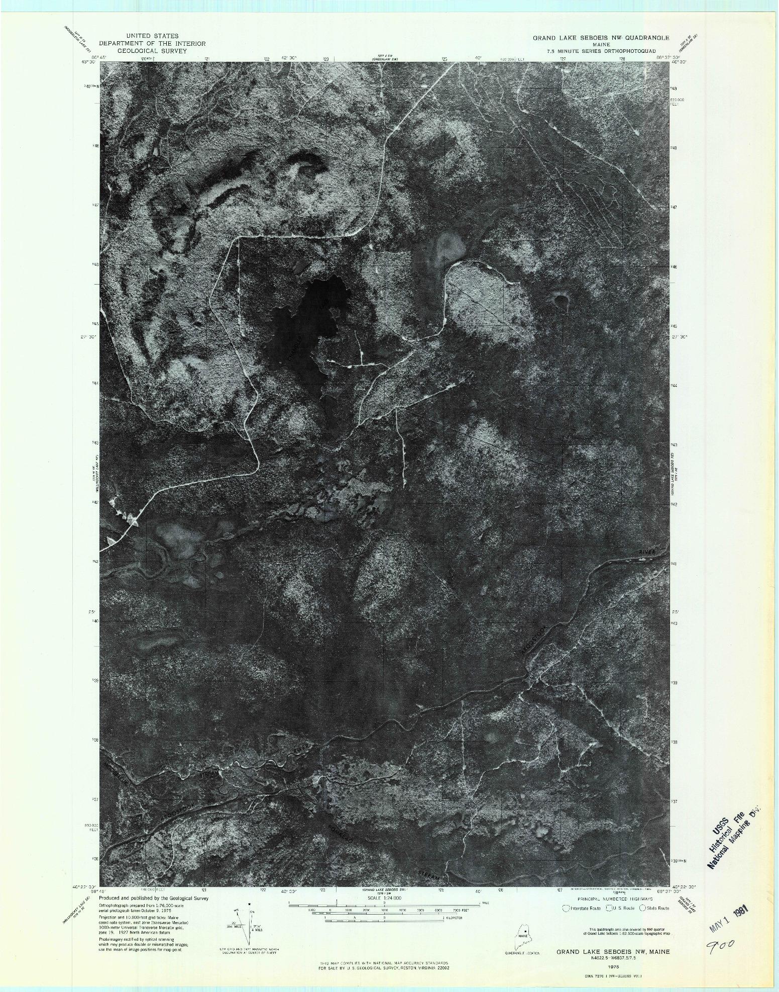 USGS 1:24000-SCALE QUADRANGLE FOR GRAND LAKE SEBOEIS NW, ME 1975