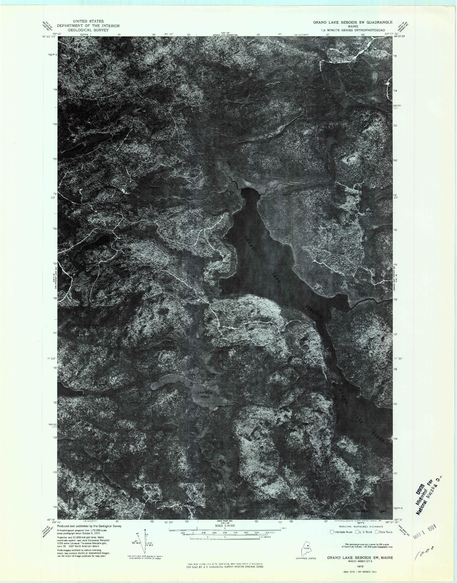 USGS 1:24000-SCALE QUADRANGLE FOR GRAND LAKE SEBOEIS SW, ME 1975