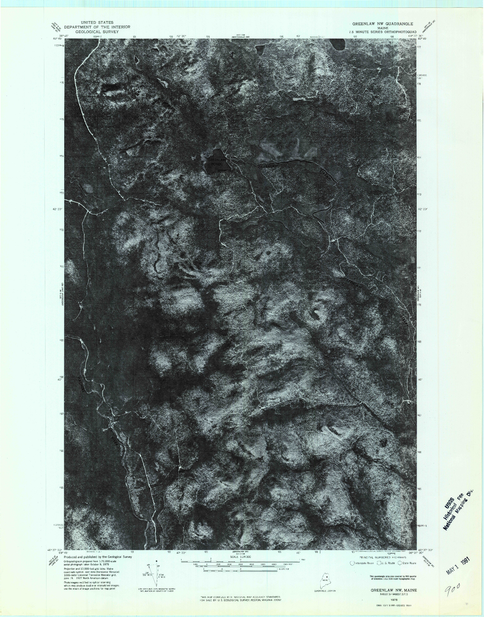 USGS 1:24000-SCALE QUADRANGLE FOR GREENLAW NW, ME 1975